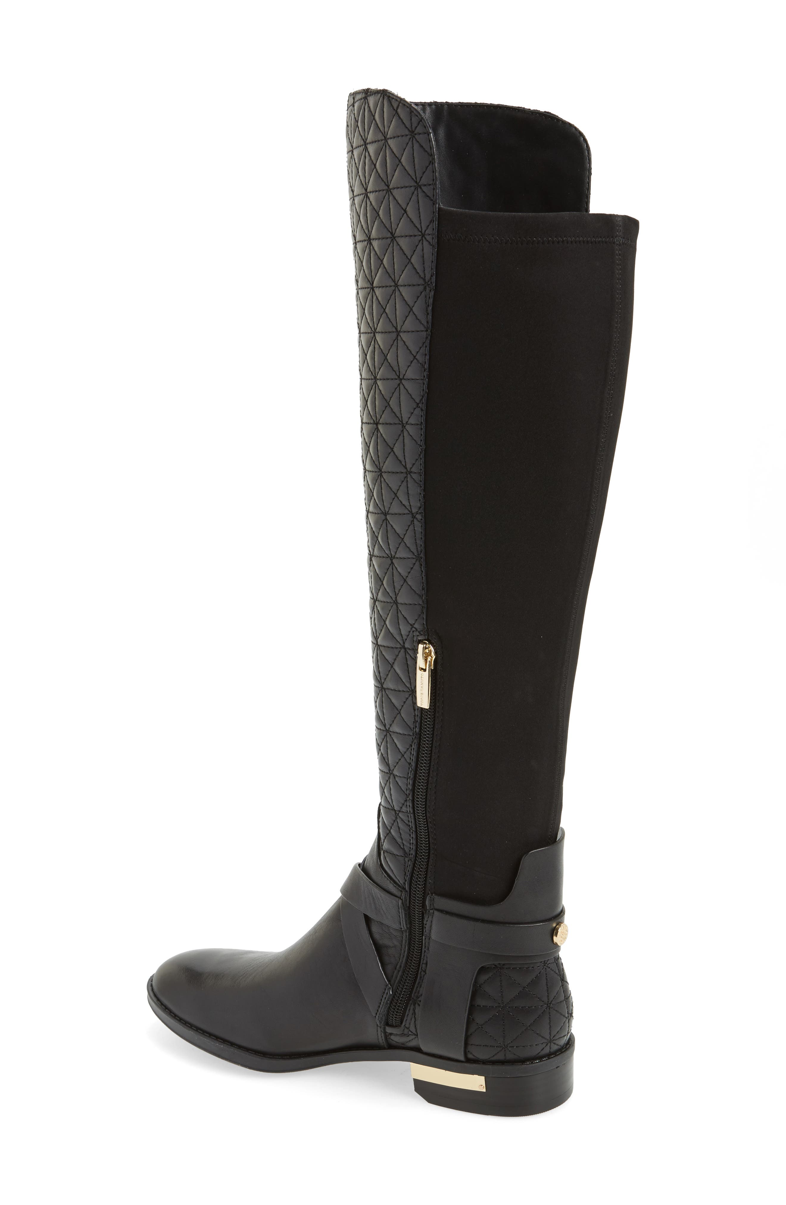 Patira Over the Knee Boot,                             Alternate thumbnail 2, color,                             Black Leather Wide Calf