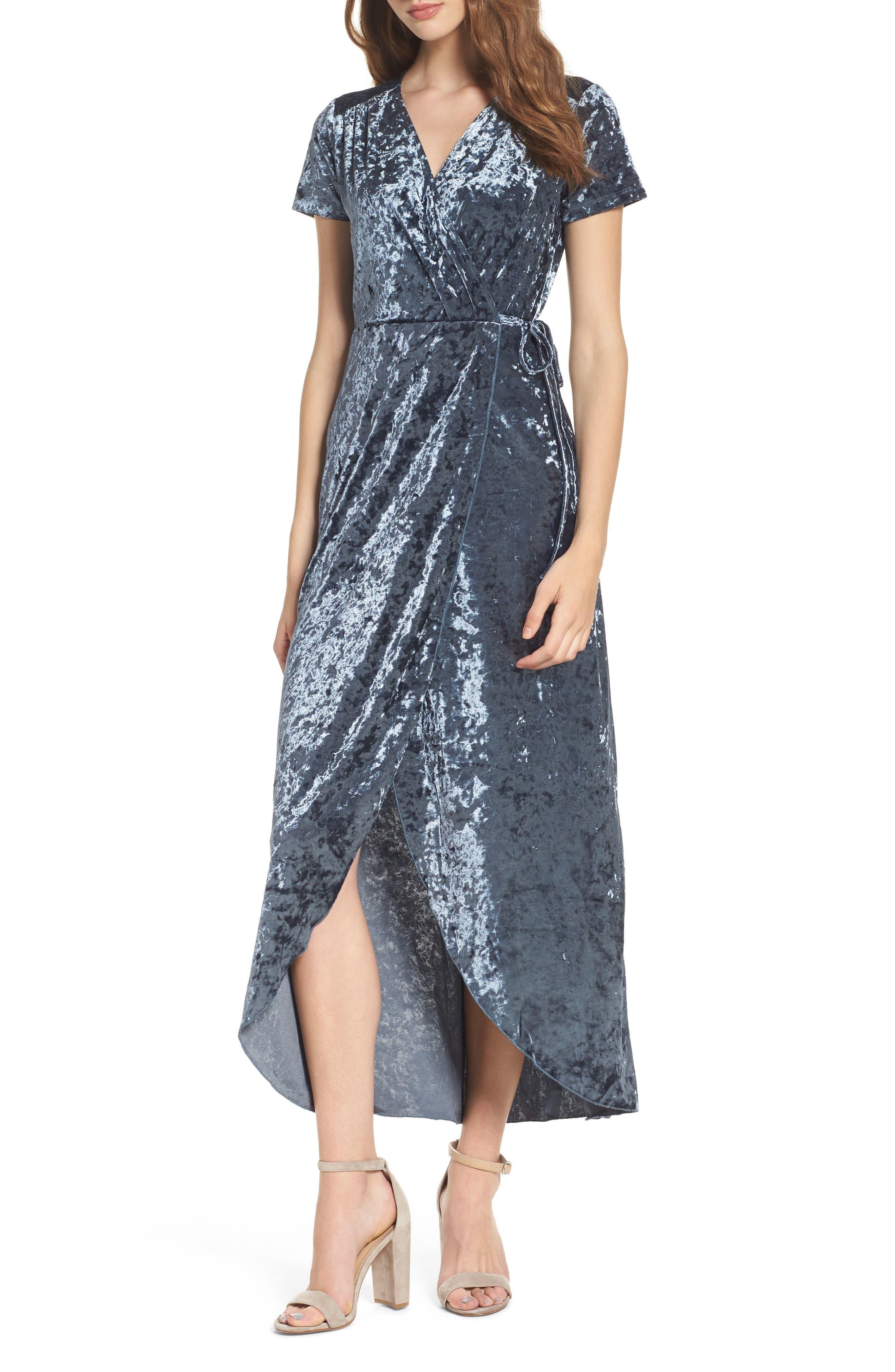 NSR Velvet Midi Wrap Dress