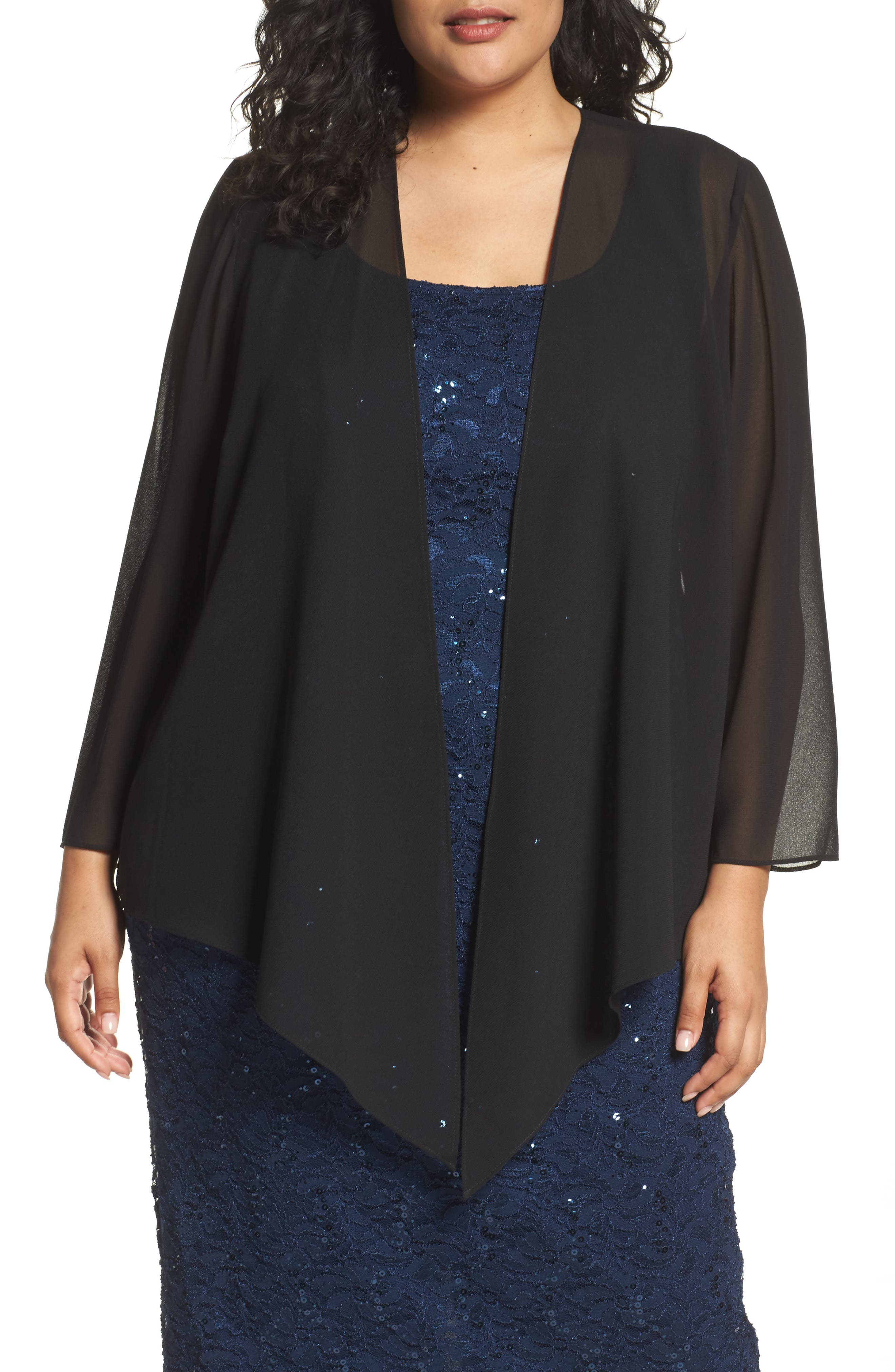 Alex Evenings Georgette Open Jacket (Plus Size)