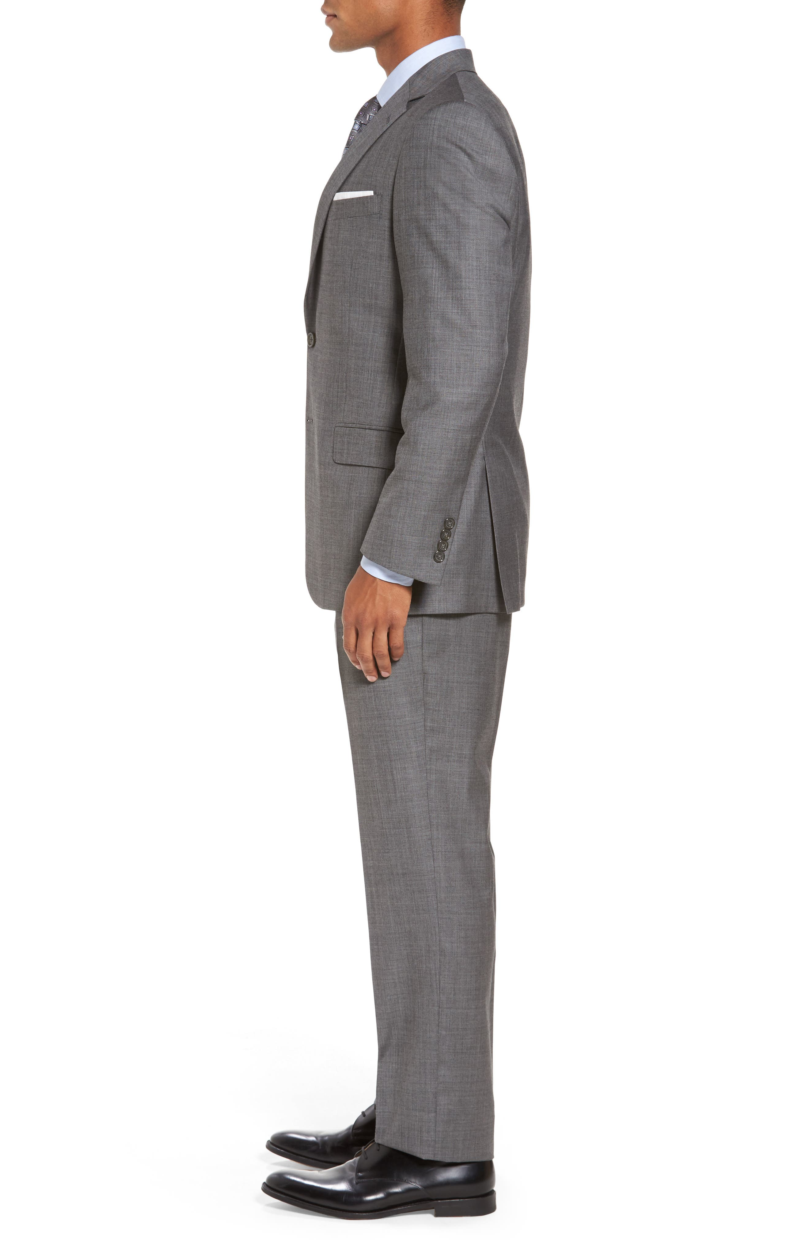 Classic Fit Solid Wool Suit,                             Alternate thumbnail 3, color,                             Med Grey