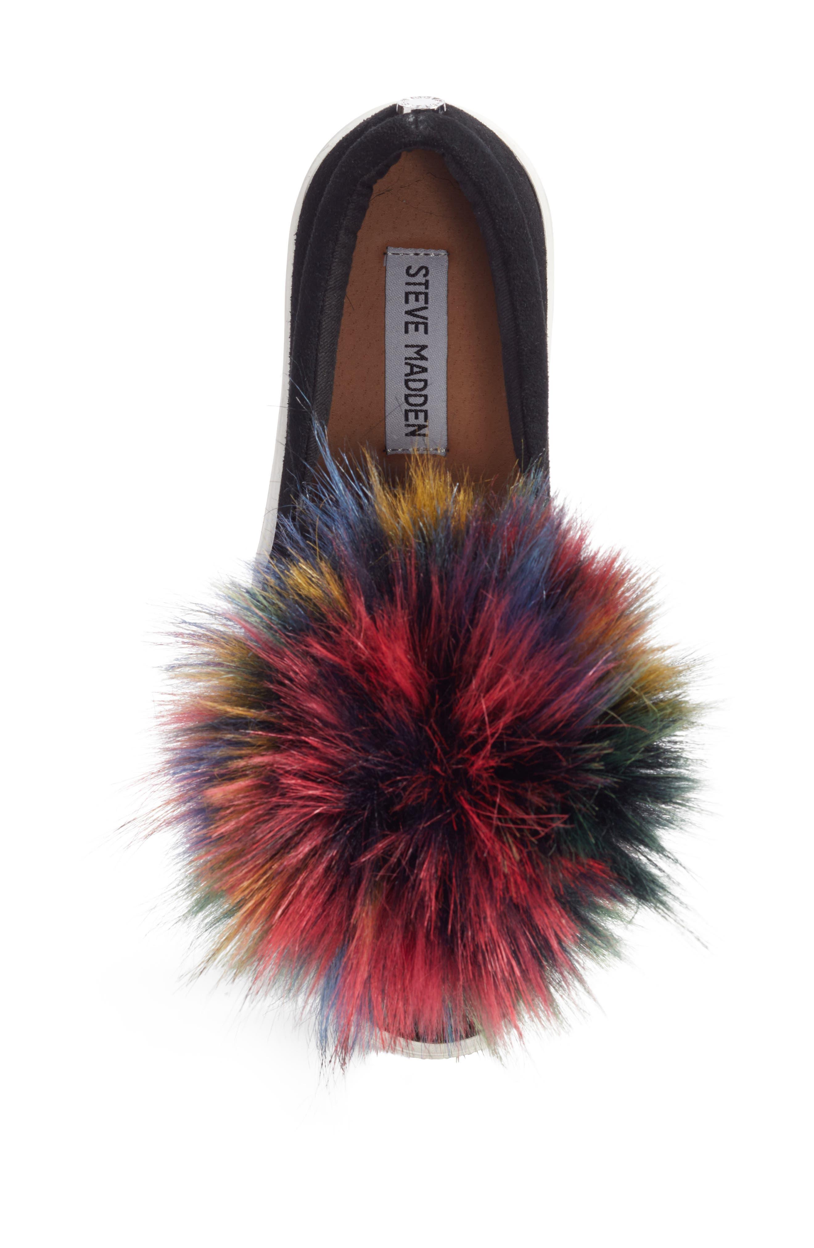 Great Faux Fur Pom Platform Sneaker,                             Alternate thumbnail 5, color,                             Black Multi