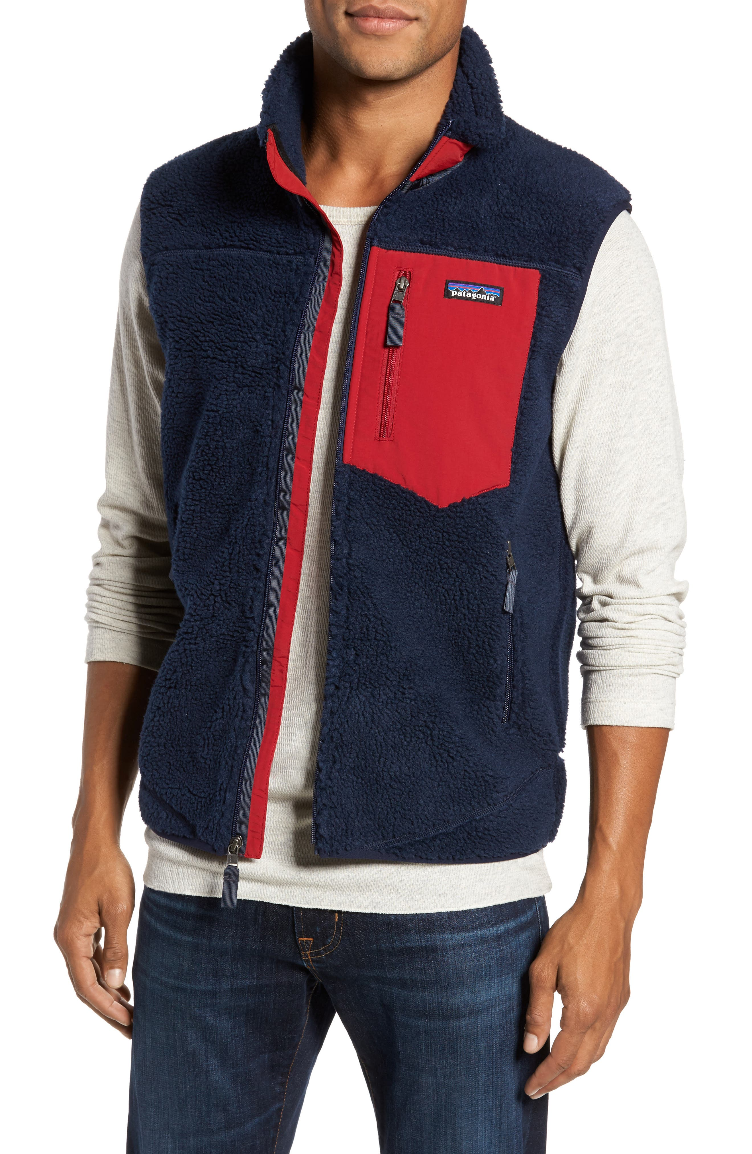 Classic Retro-X<sup>®</sup> Waterproof Vest,                             Main thumbnail 1, color,                             Navy Blue W/ Classic Red