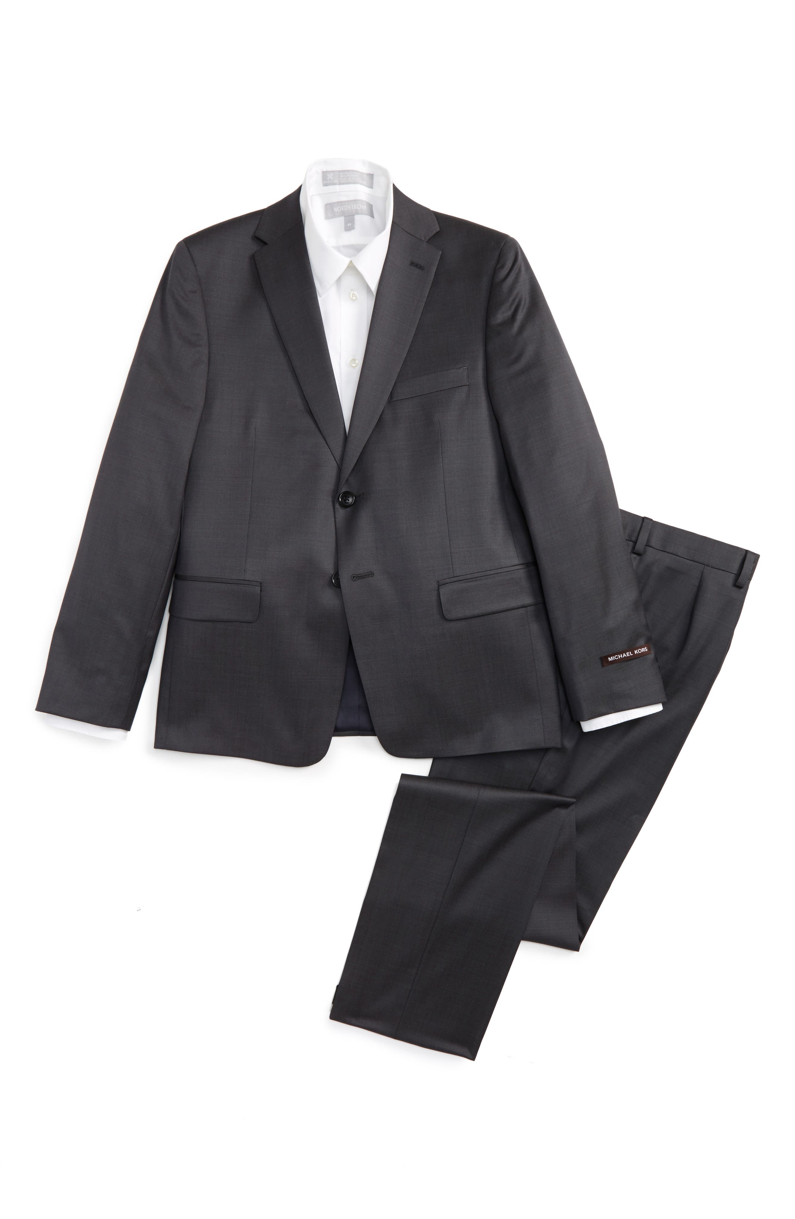 Worsted Wool Suit,                         Main,                         color, Grey