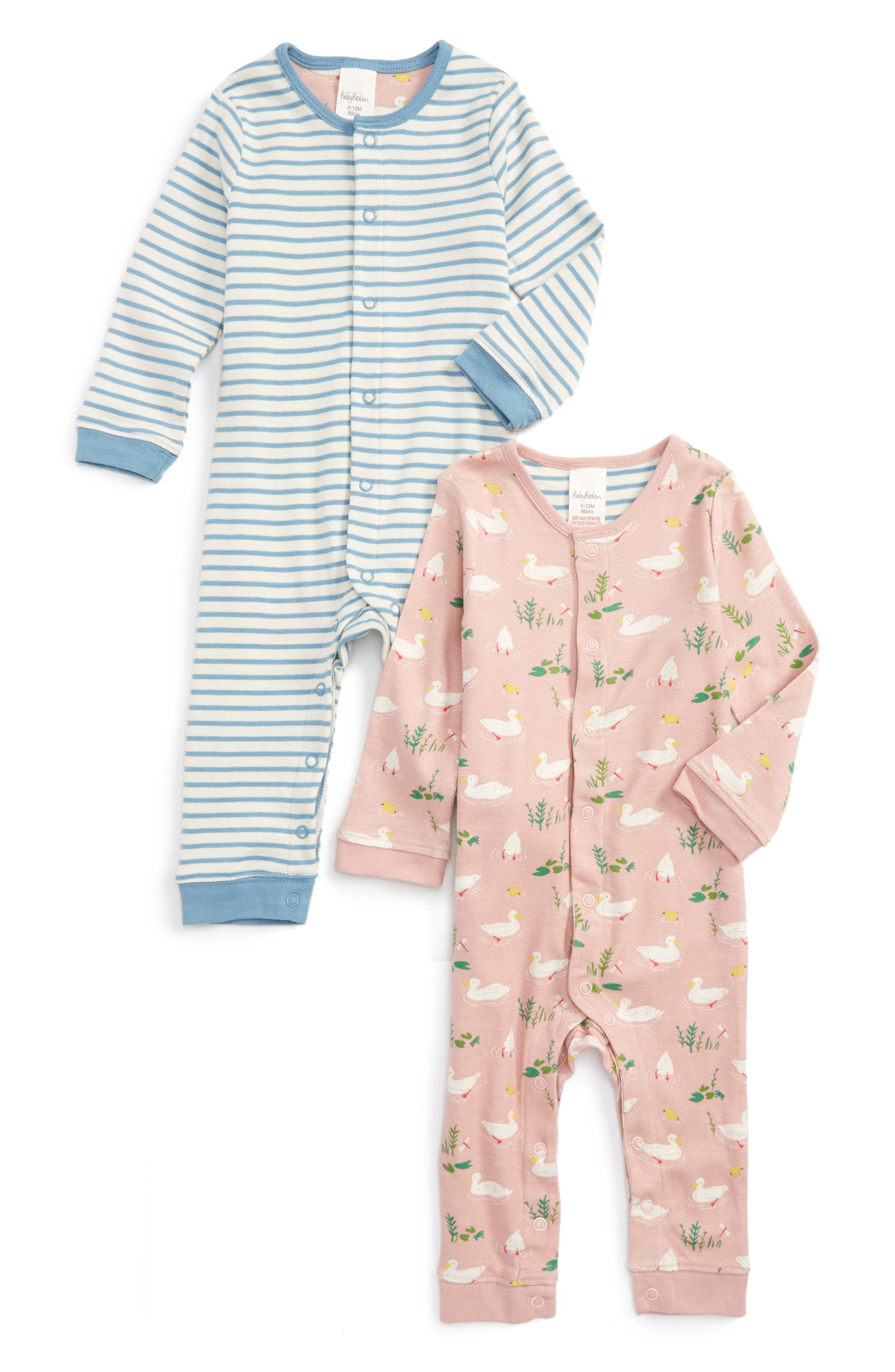 Mini Boden 2-Pack Rompers (Baby Girls)