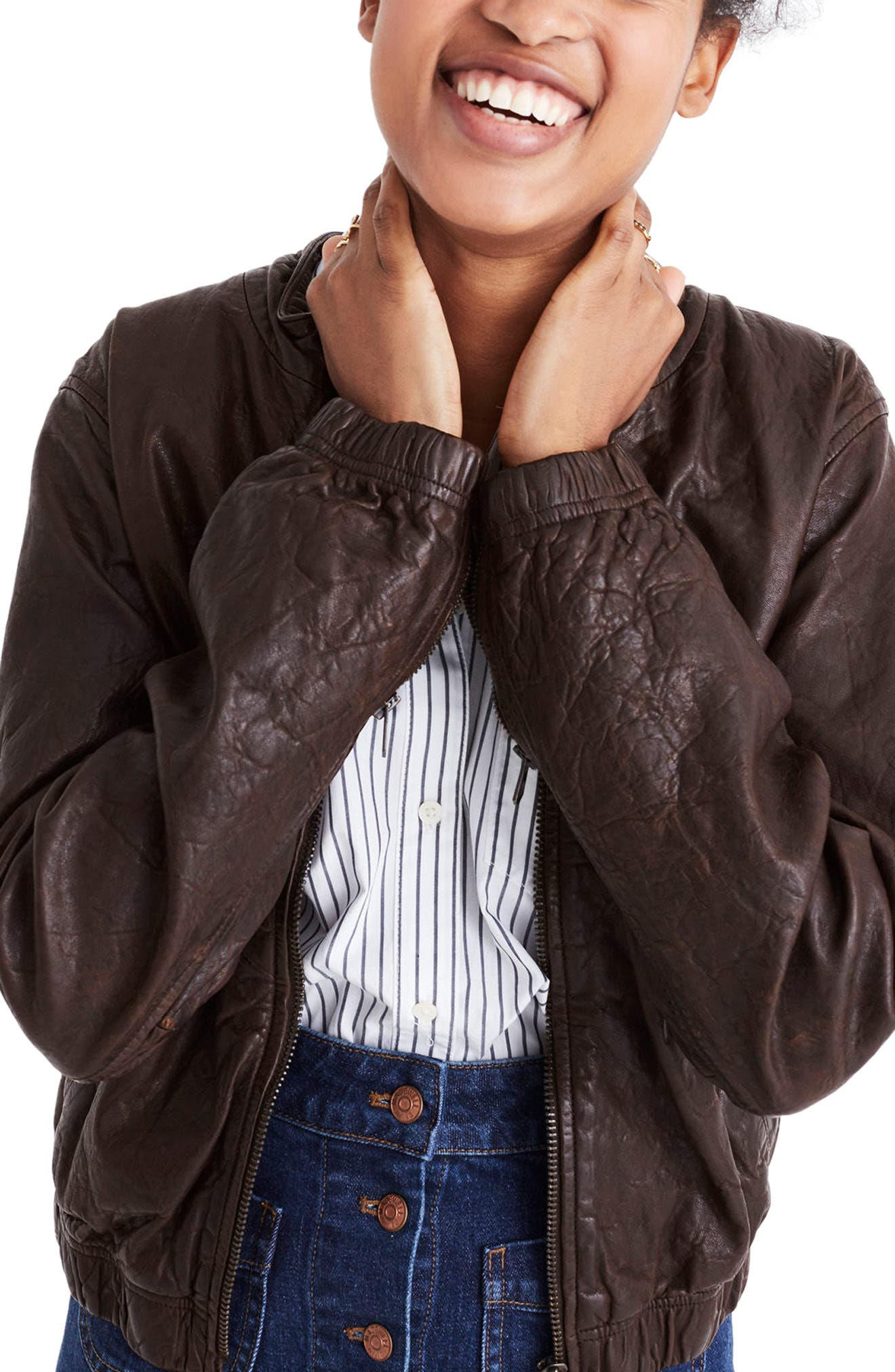 Leather Bomber Jacket,                             Alternate thumbnail 3, color,                             Dark Coffee