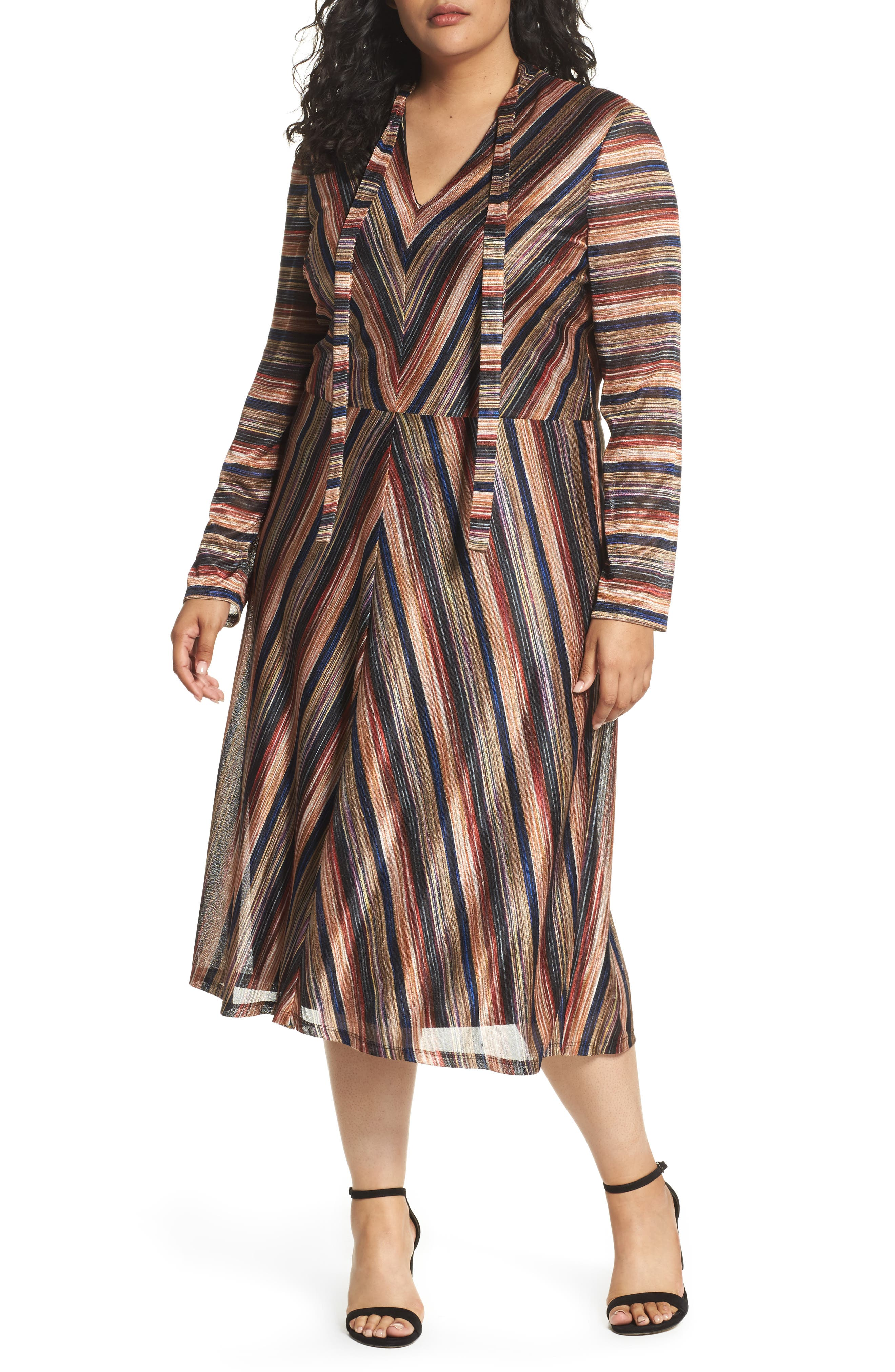 London Times Tie Neck Stripe A-Line Dress (Plus Size)