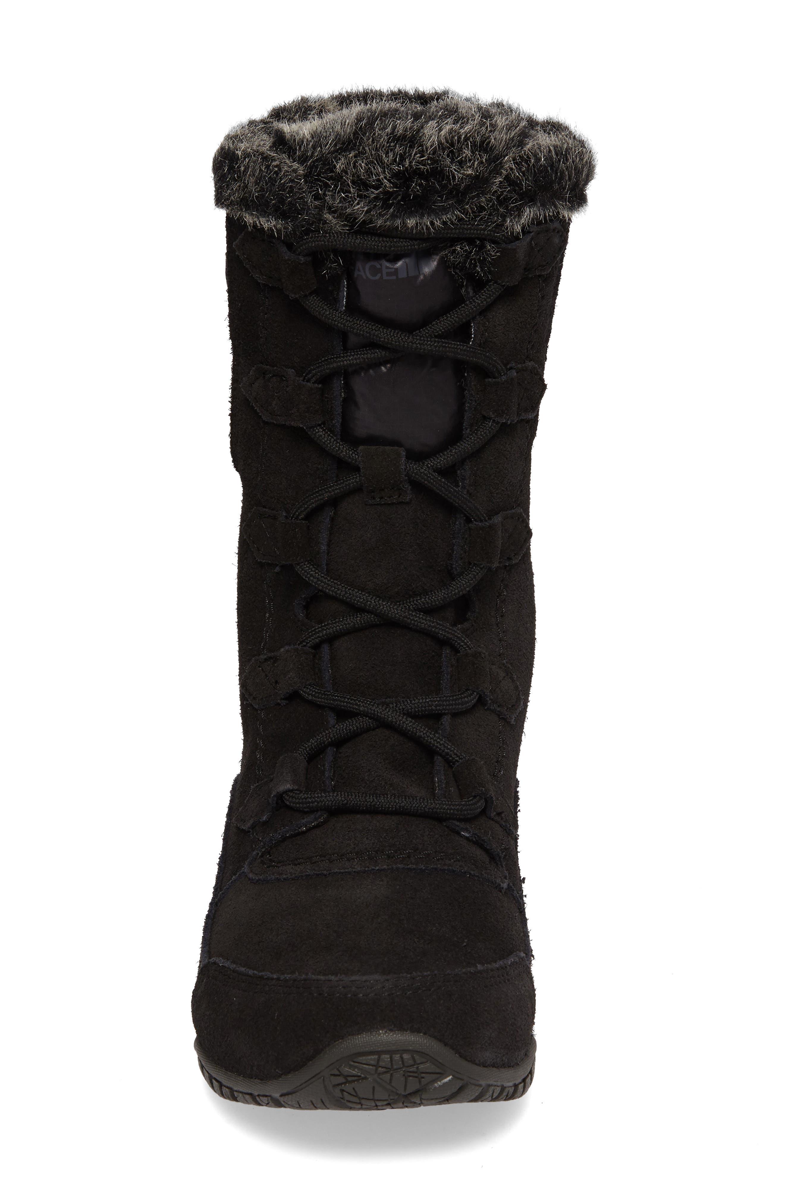 Nuptse Purna II Waterproof PrimaLoft<sup>®</sup> Silver Eco Insulated Winter Boot,                             Alternate thumbnail 5, color,                             Tnf Black/ Beluga Grey