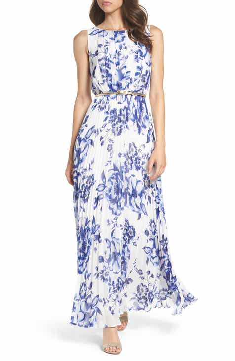 9b447e23b Eliza J Pleated Floral Chiffon Maxi Dress (Regular   Petite)