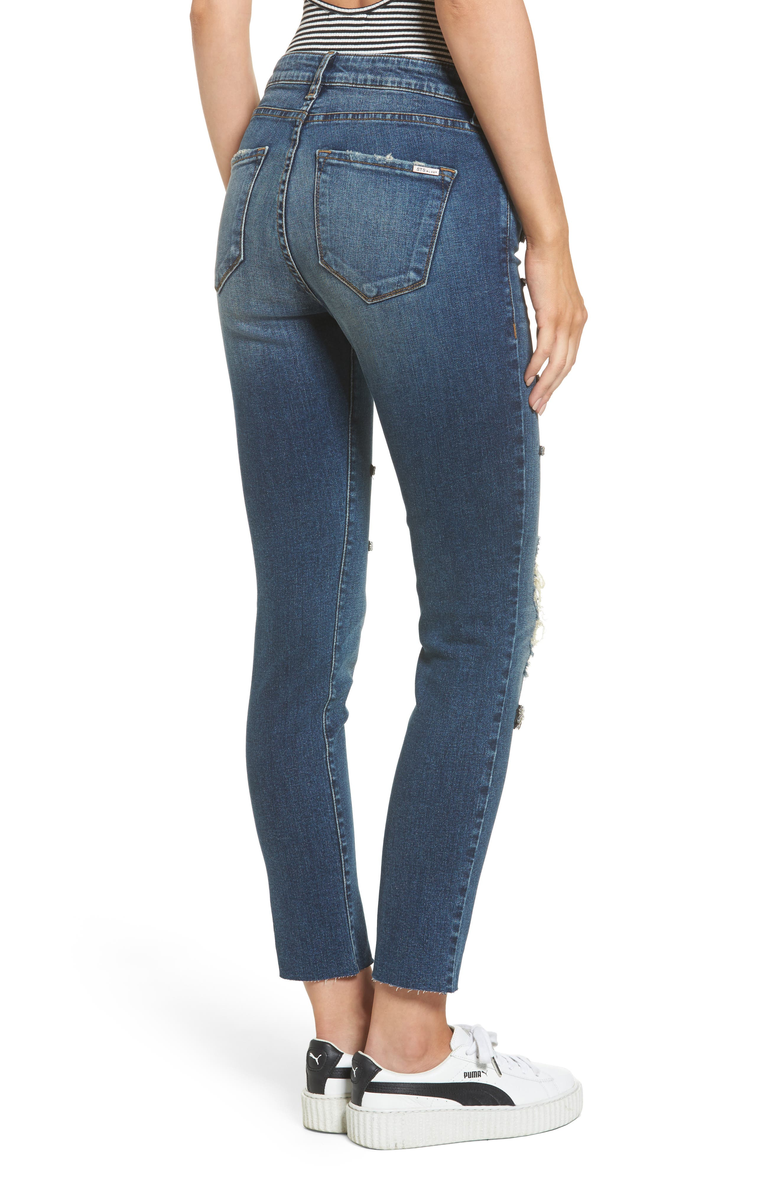 Taylor Jeweled Crop Straight Leg Jeans,                             Alternate thumbnail 2, color,                             East River View