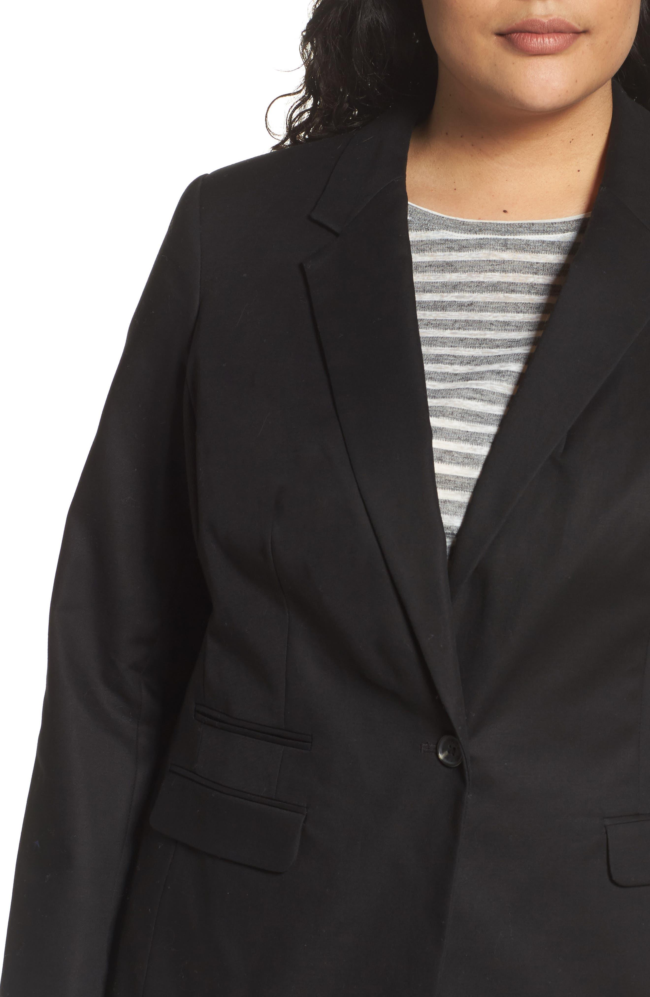 One-Button Blazer,                             Alternate thumbnail 4, color,                             Rich Black