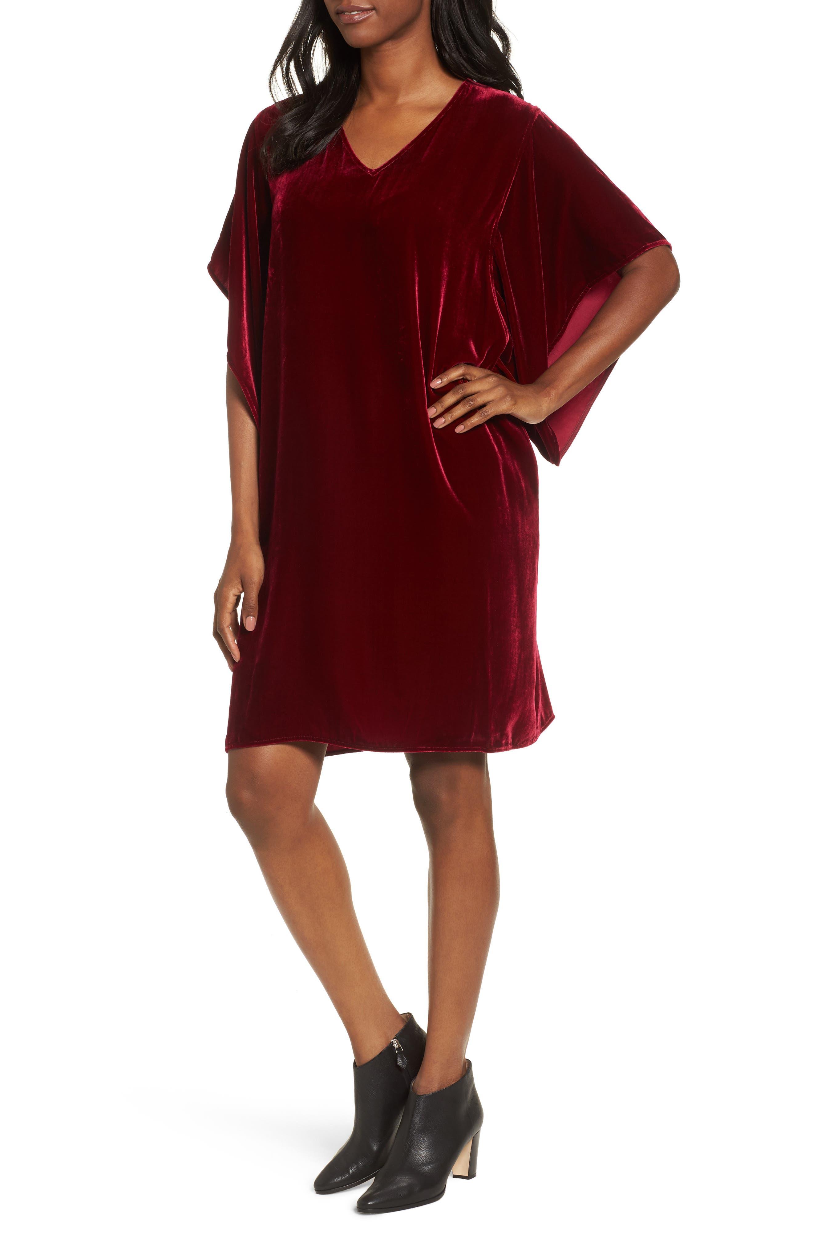 Alternate Image 1 Selected - Eileen Fisher V-Neck Velvet Kimono Dress