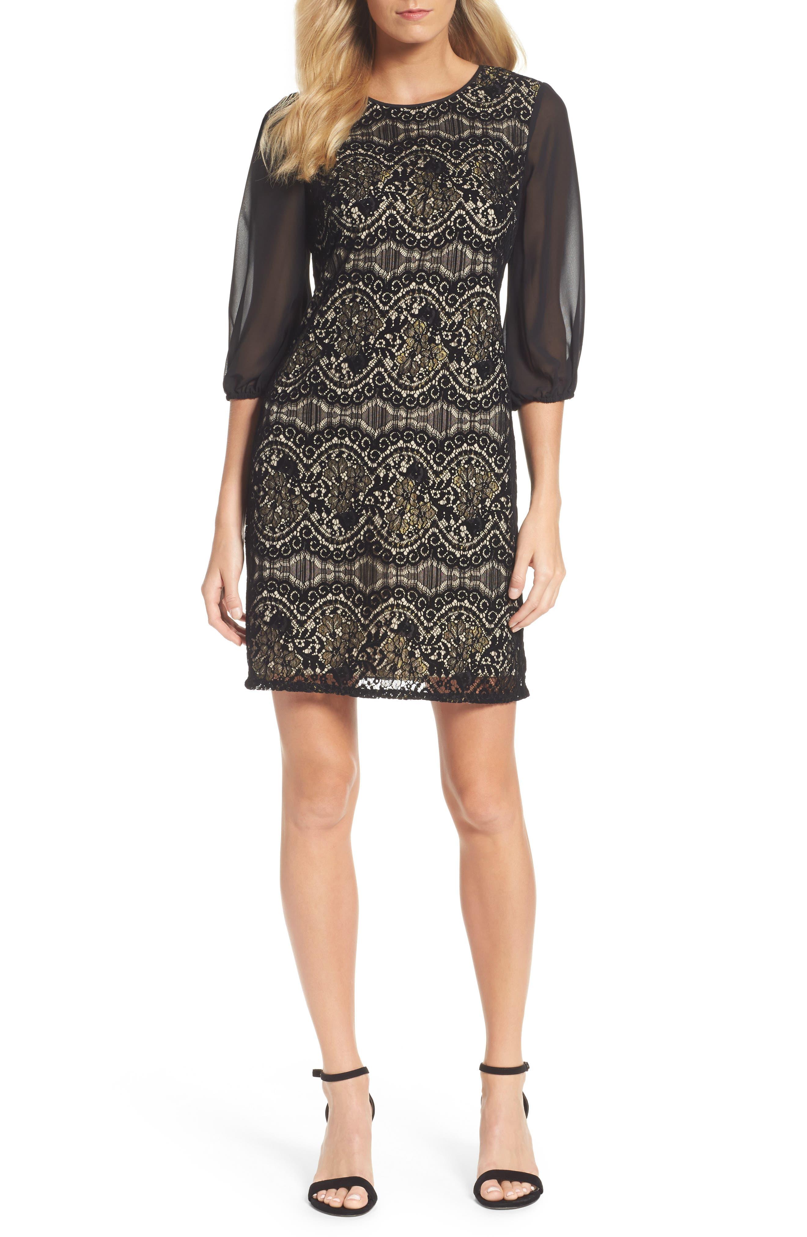 Flocked Lace Shift Dress,                         Main,                         color, Black/ Champange