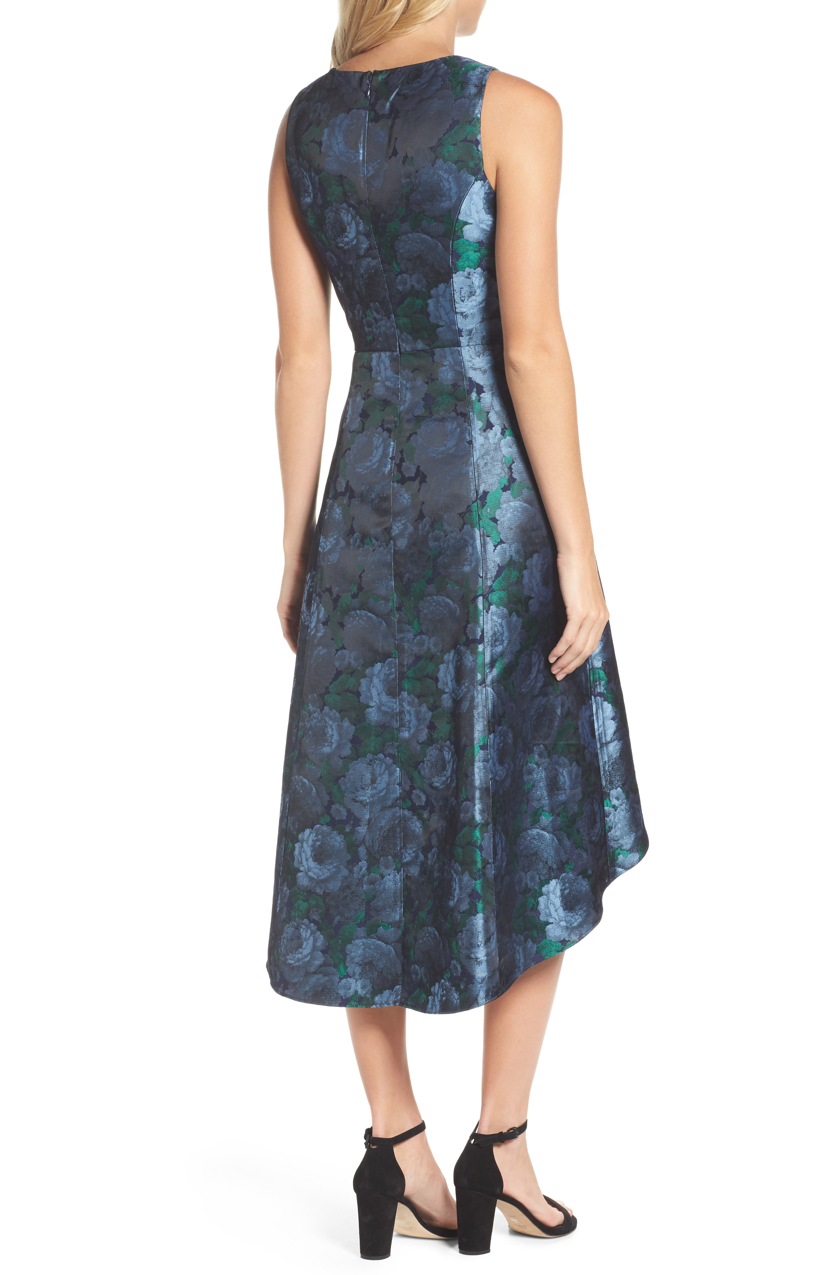 Brocade High/Low Dress,                             Alternate thumbnail 2, color,                             Blue/ Navy