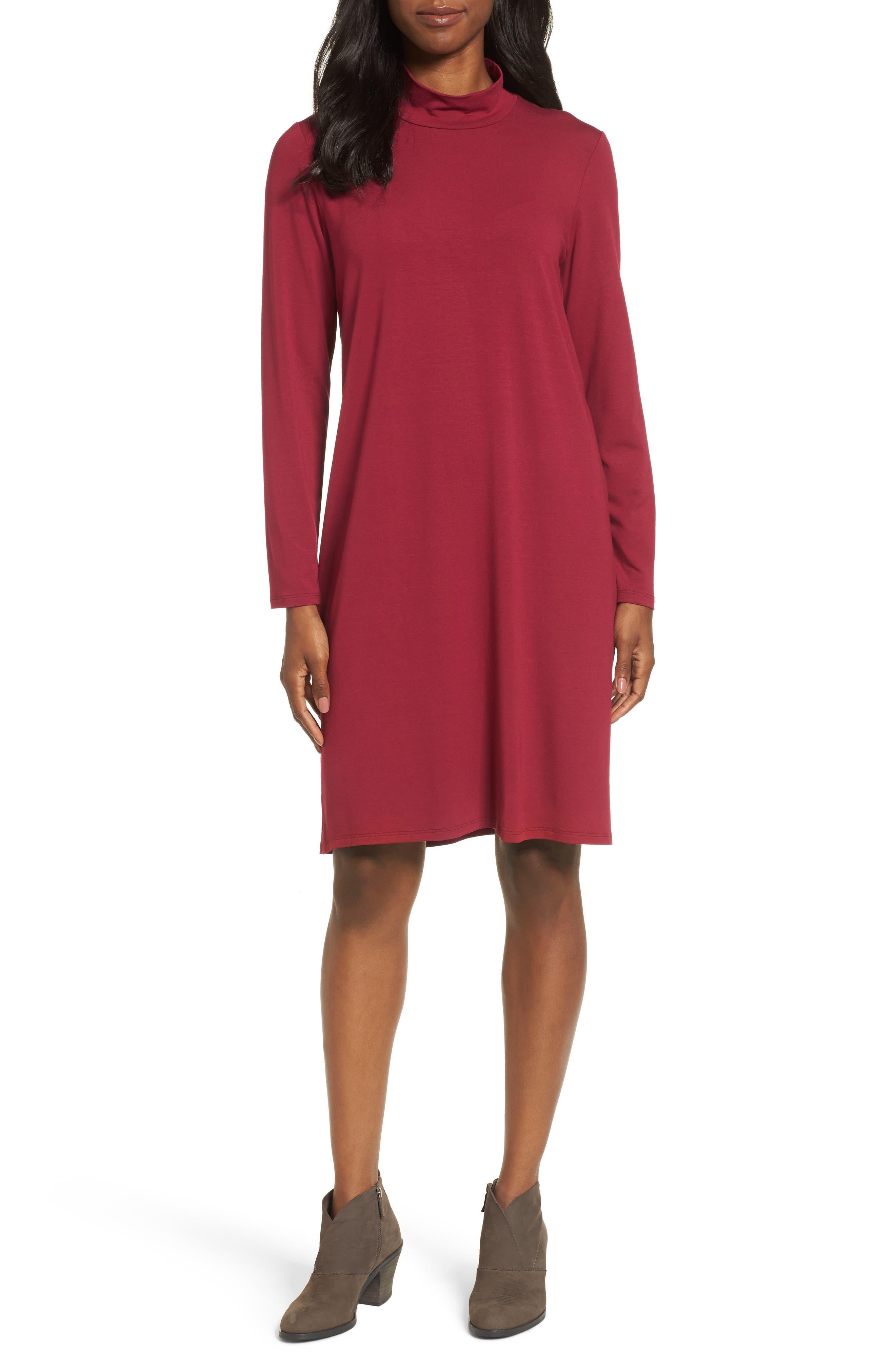 Alternate Image 1 Selected - Eileen Fisher Mock Neck Shift Dress