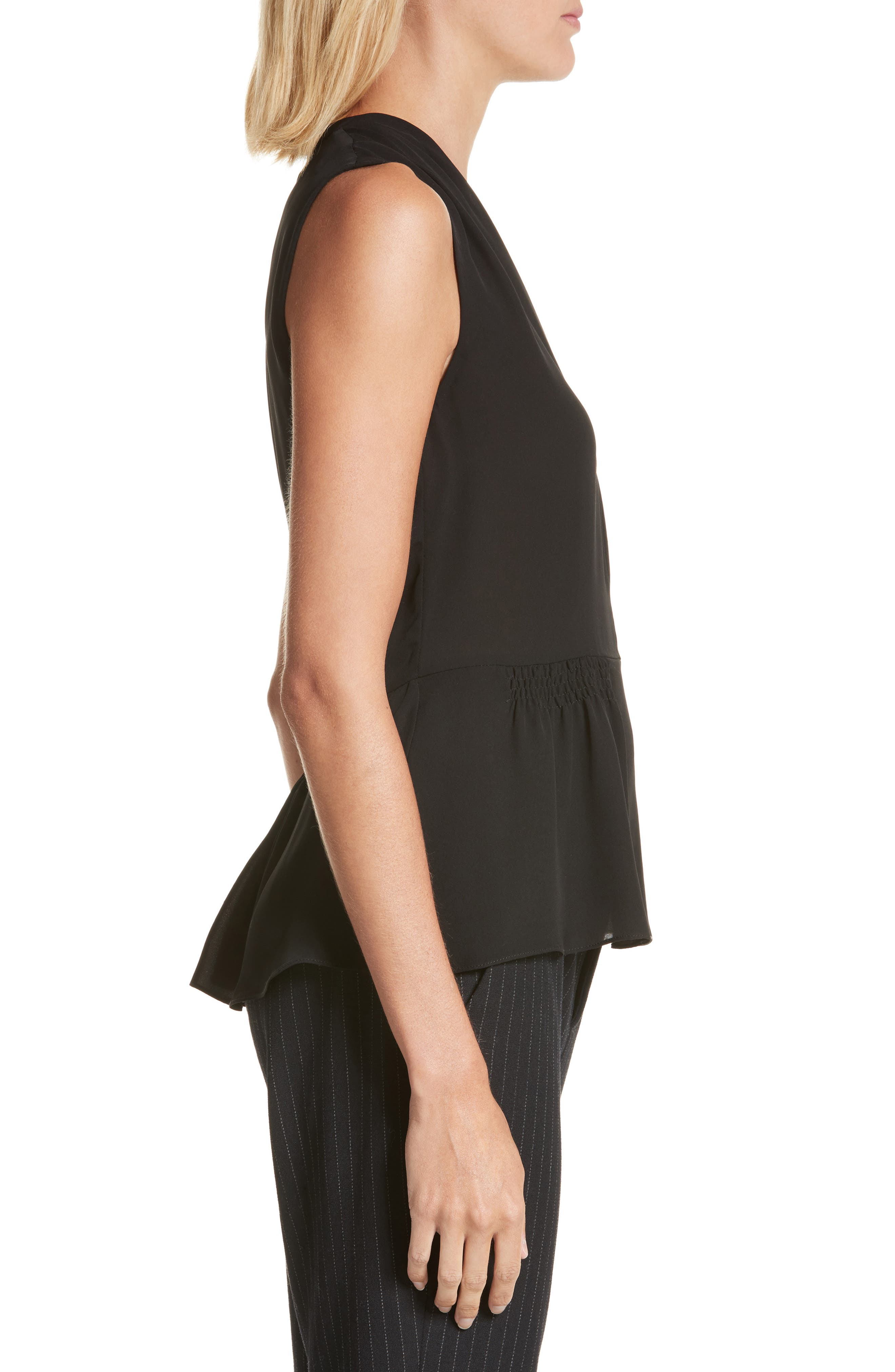 Sleeveless Silk Blouse,                             Alternate thumbnail 3, color,                             Black