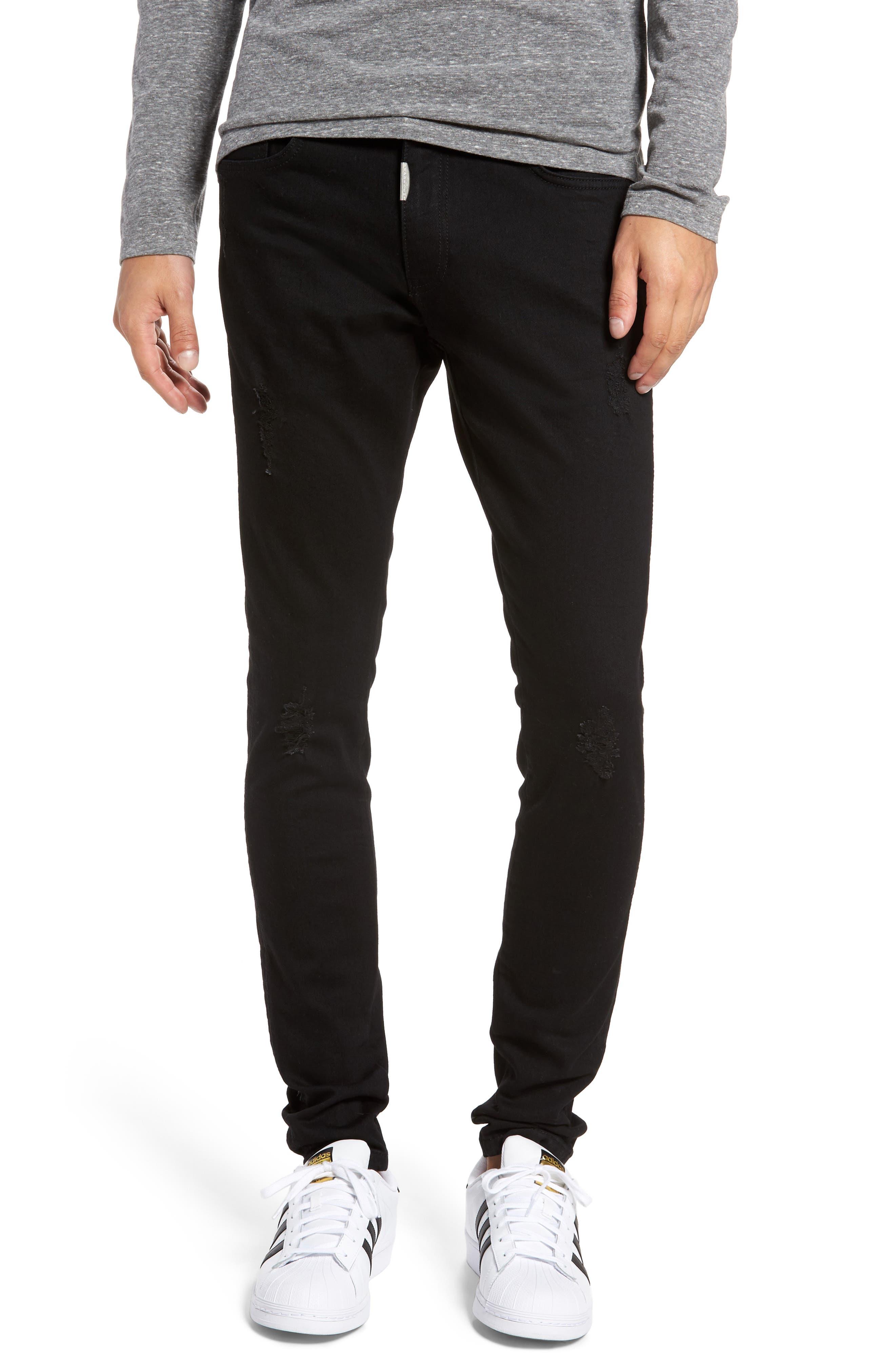 Slim Fit Distressed Jeans,                         Main,                         color, Jet Black