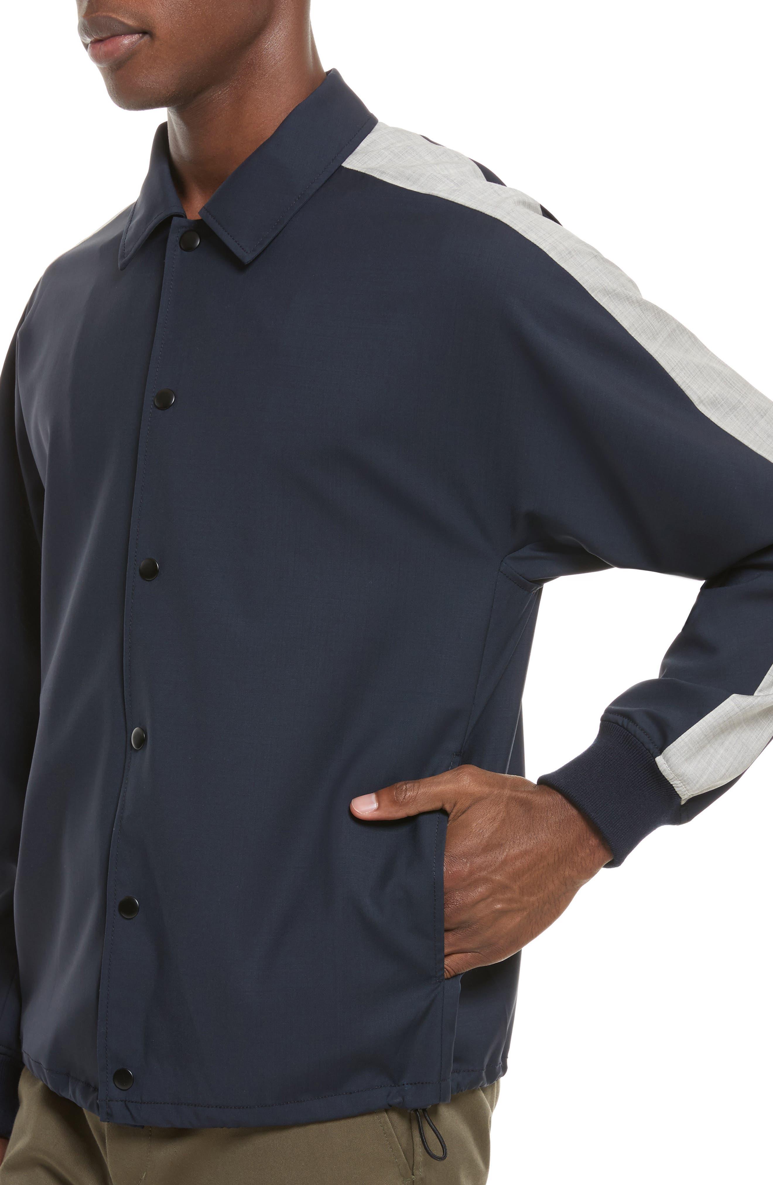 Wool Coachs Jacket,                             Alternate thumbnail 4, color,                             Midnight