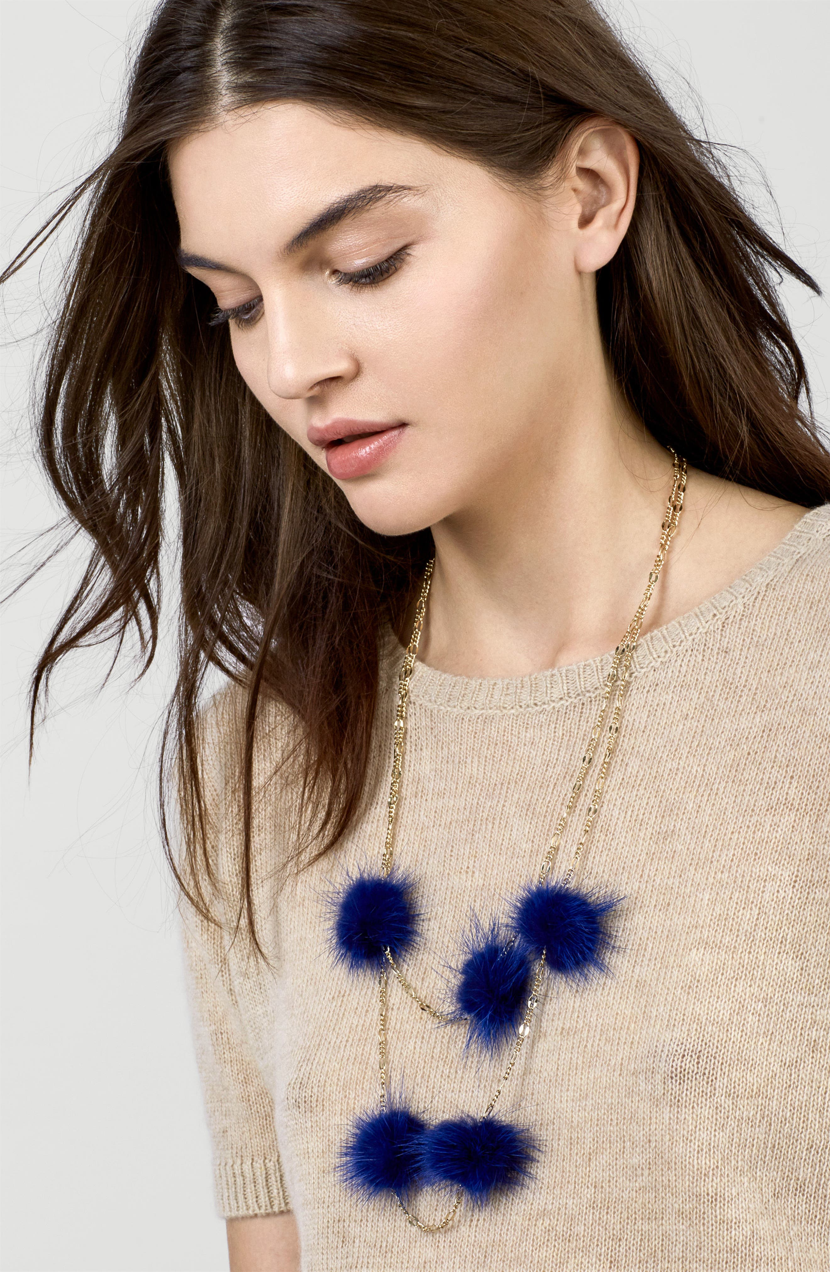 Alternate Image 3  - BaubleBar Loulou Genuine Marten Fur Pompom Layered Necklace