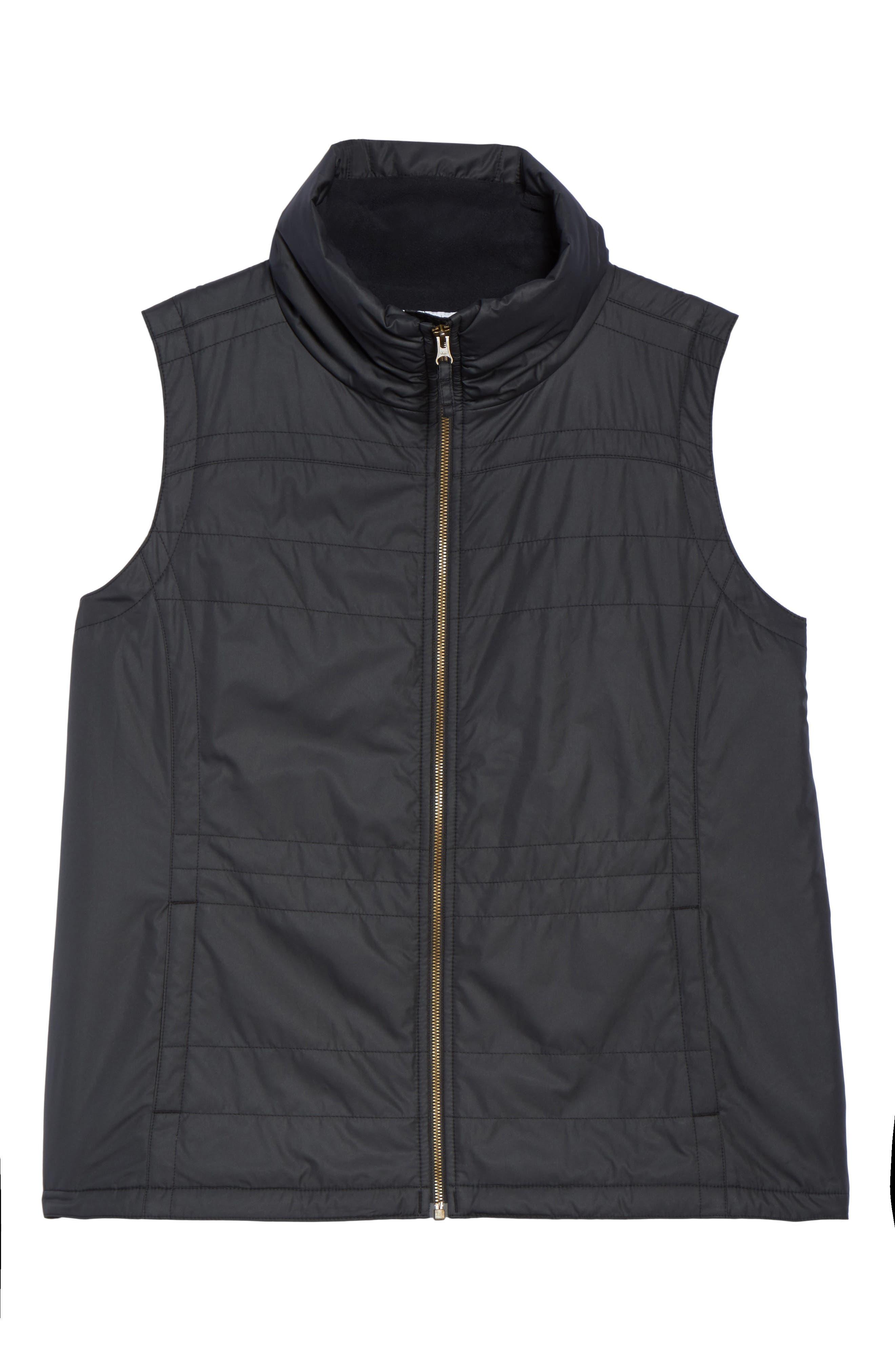 Shining Light II Quilted Vest,                             Alternate thumbnail 6, color,                             Black