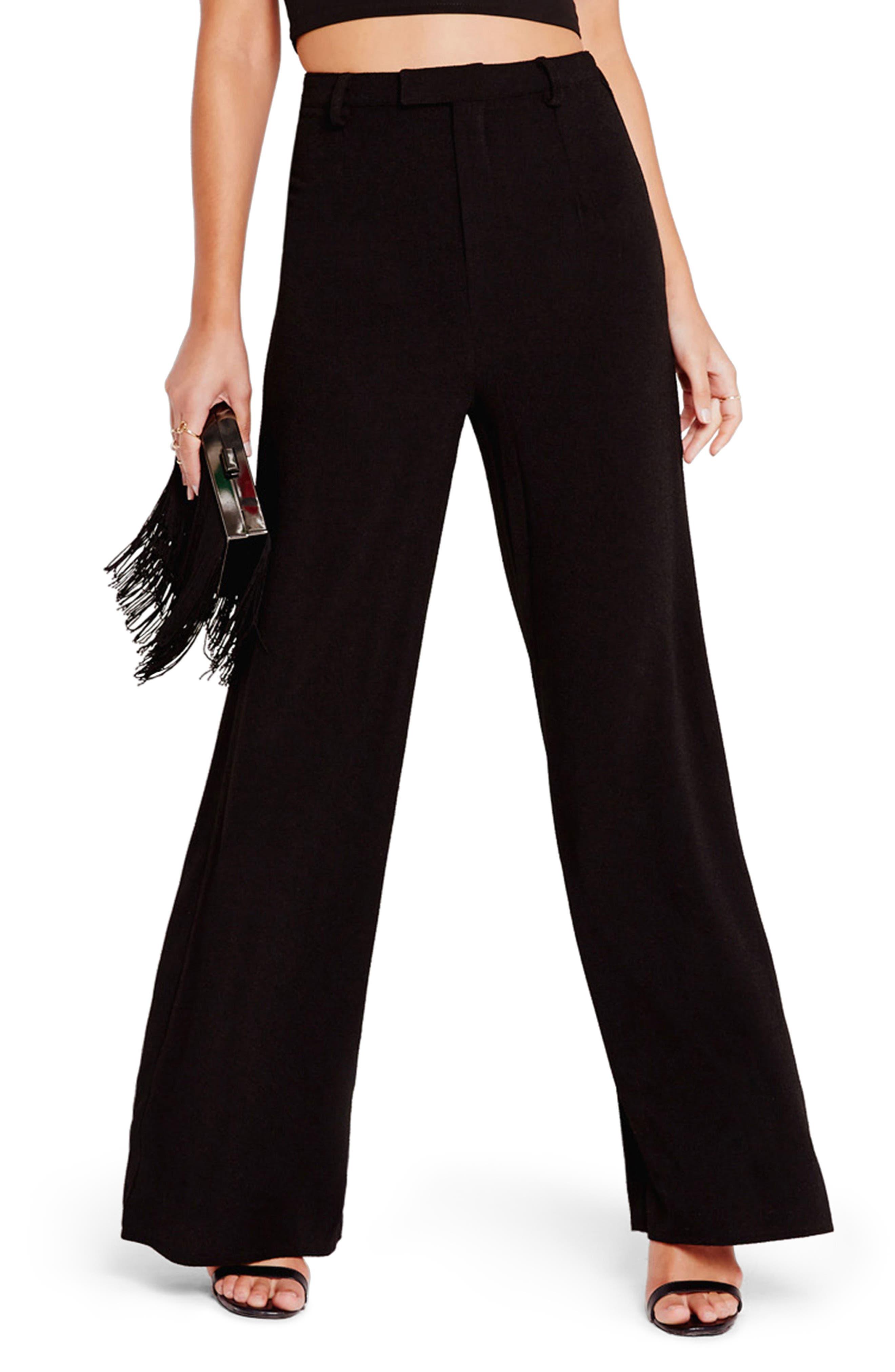 Crepe Wide Leg Trousers,                         Main,                         color, Black