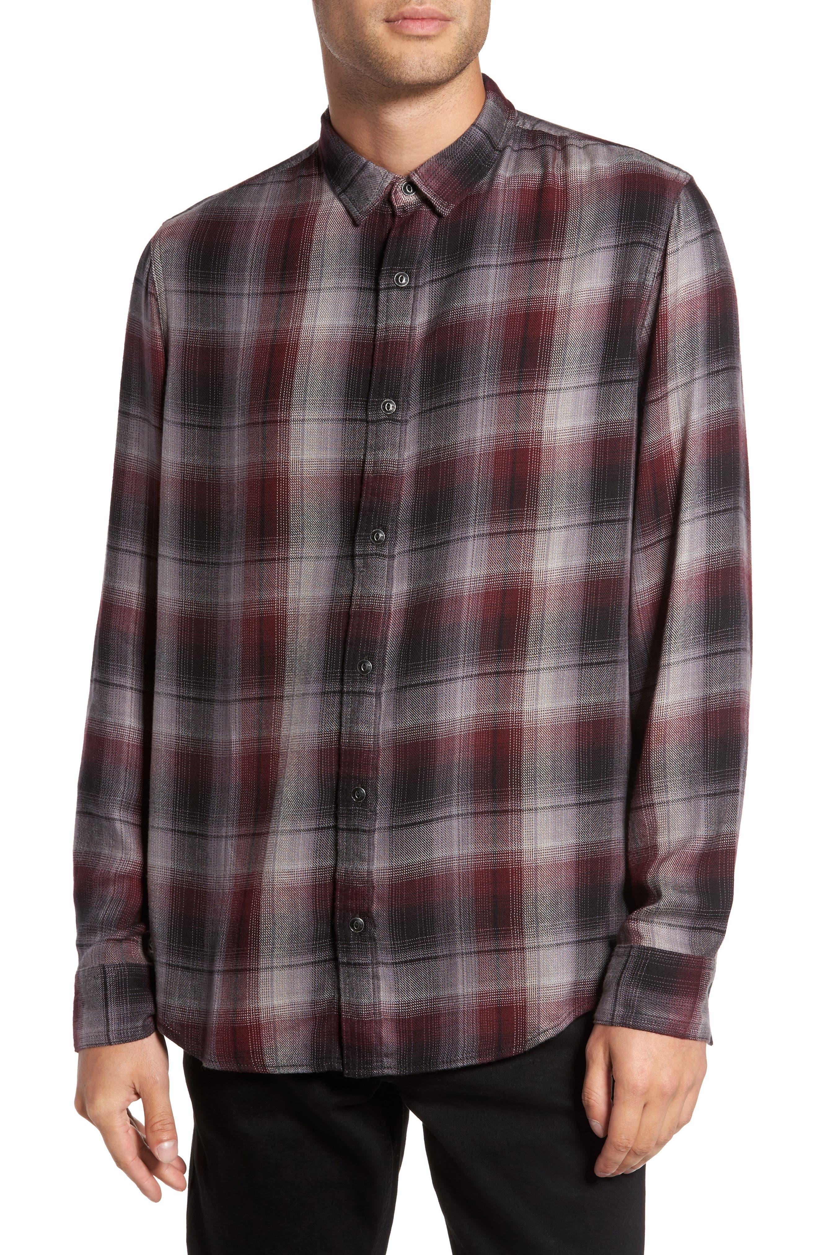 Virgil Ombré Plaid Sport Shirt,                             Main thumbnail 1, color,                             Black Burgundy Ombre Plaid