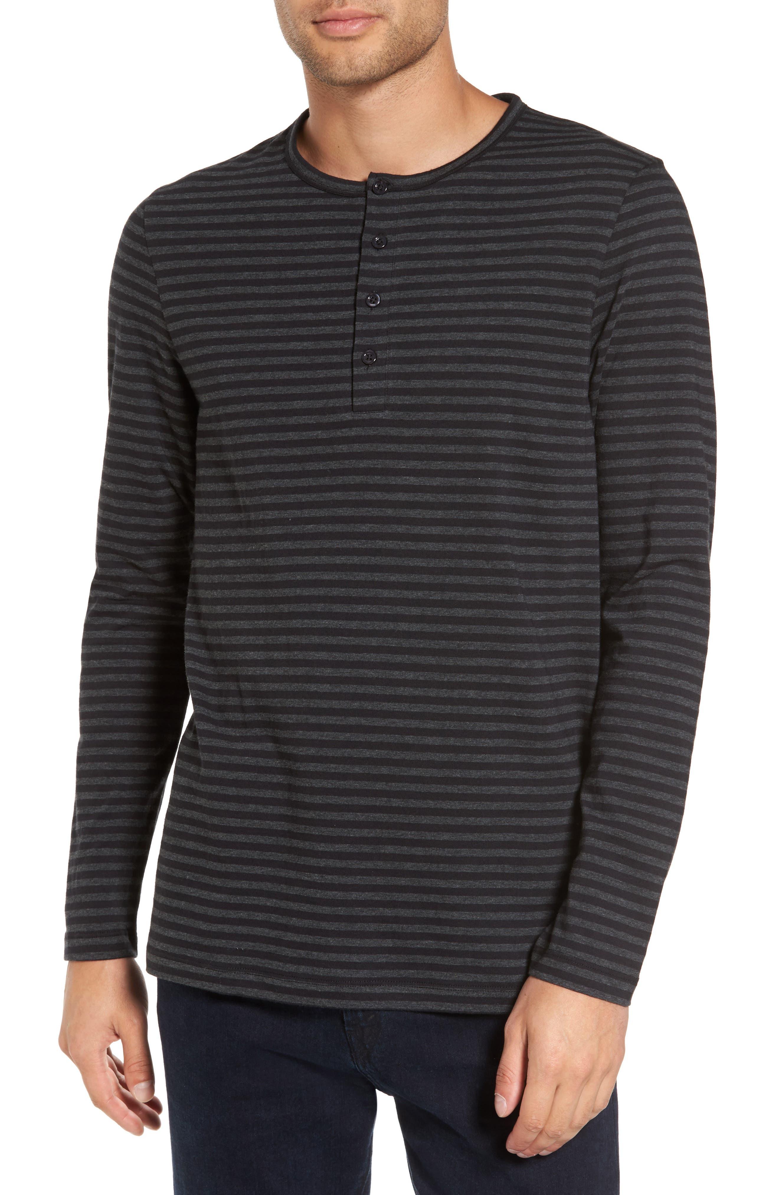 Long Sleeve Henley T-Shirt,                         Main,                         color, Black/ Charcoal Stripe