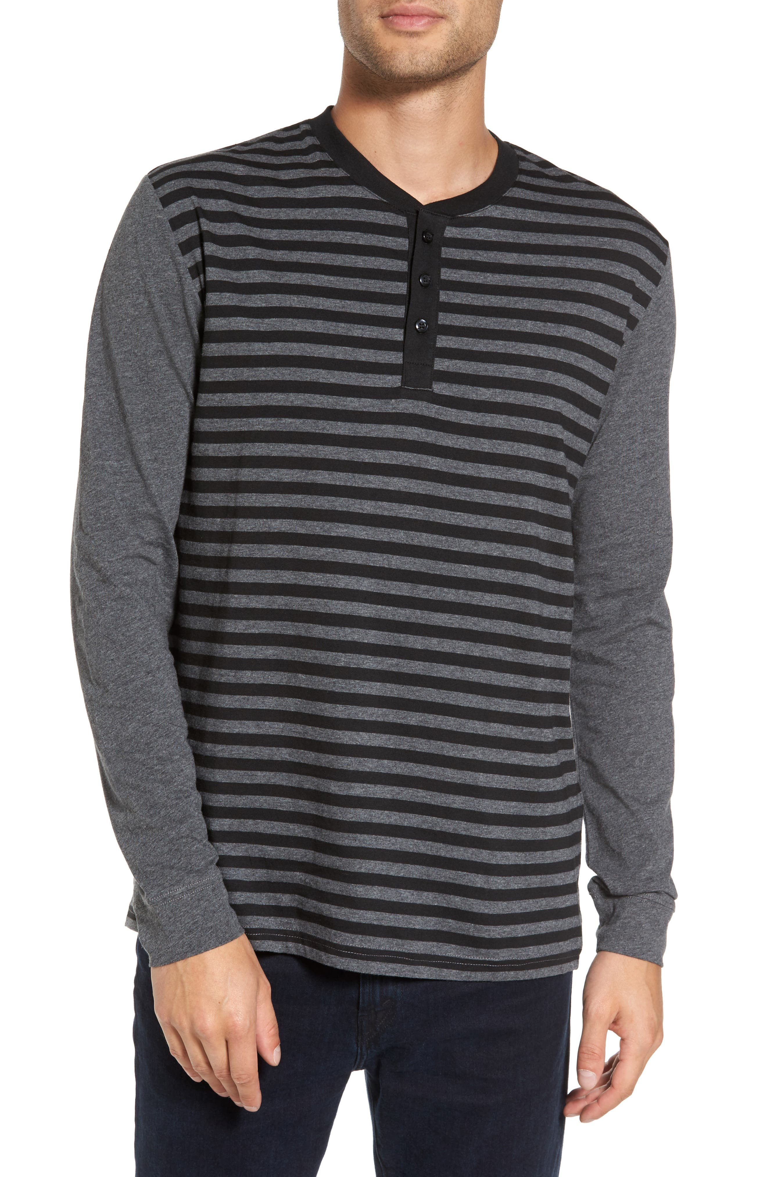 Striped Long Sleeve Henley T-Shirt,                         Main,                         color, Heather Charcoal/ Black Stripe