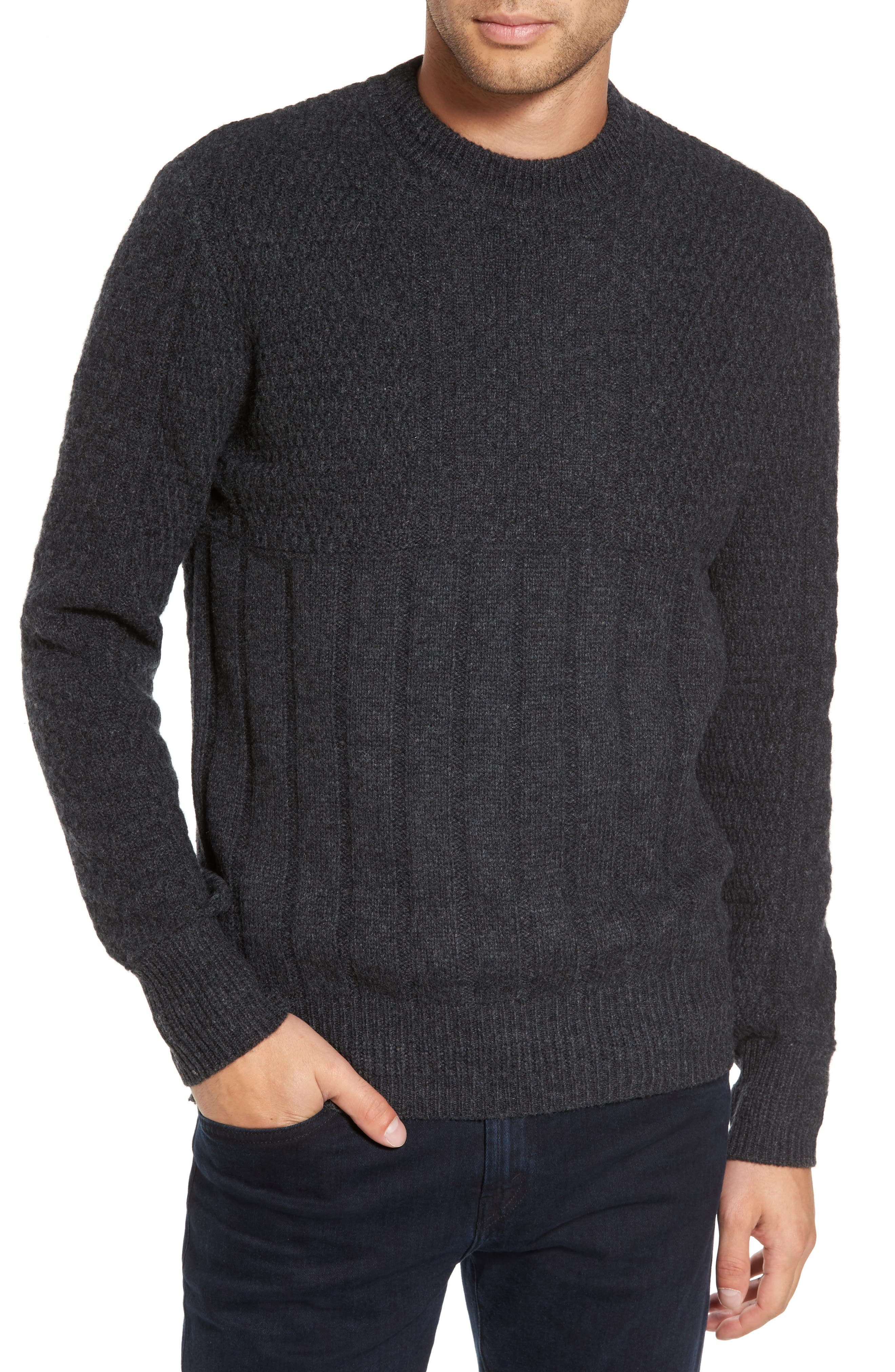 Wool Crewneck Sweater,                         Main,                         color, Charcoal