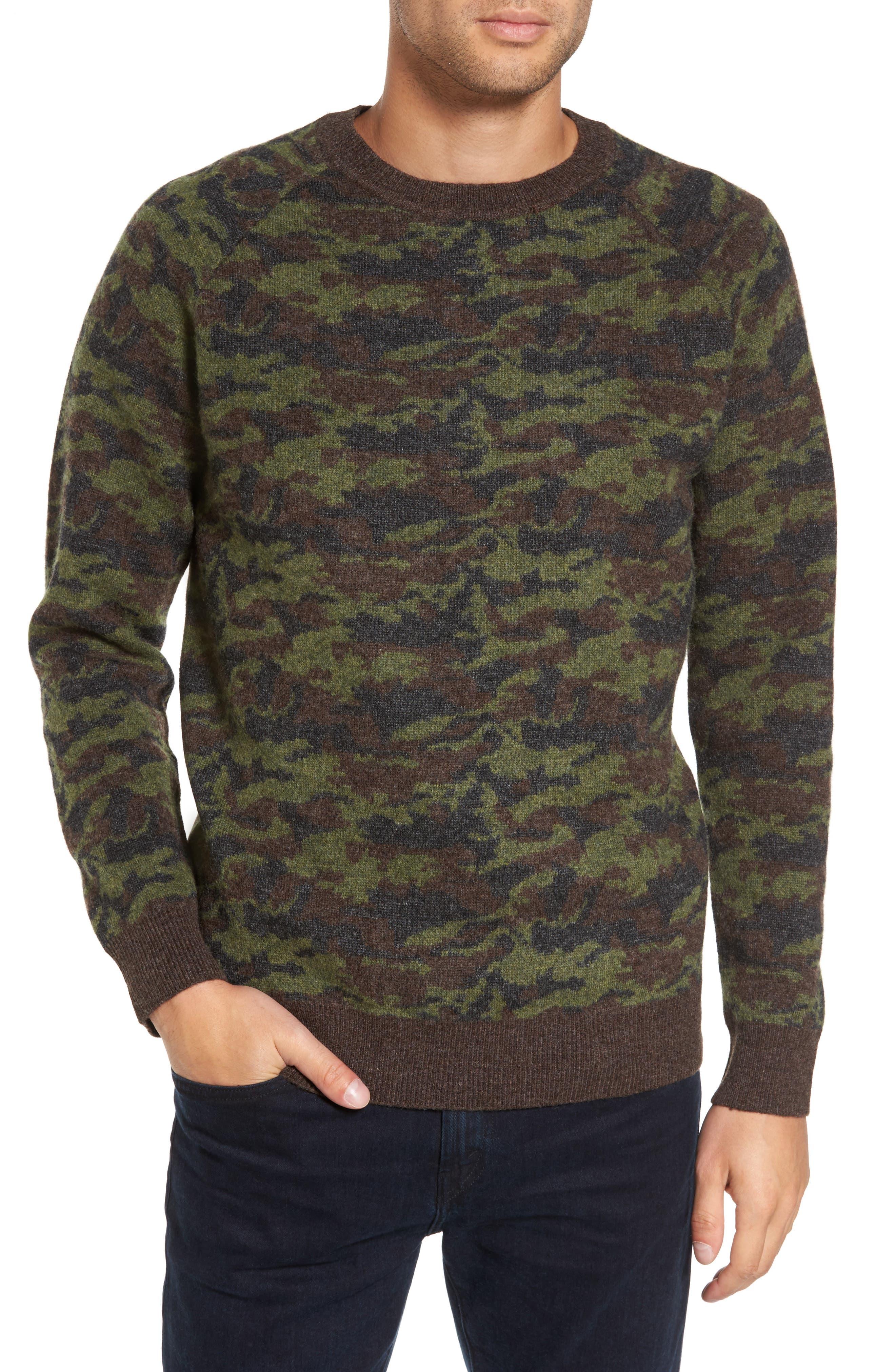 Wool Camo Sweater,                         Main,                         color, Green Camo