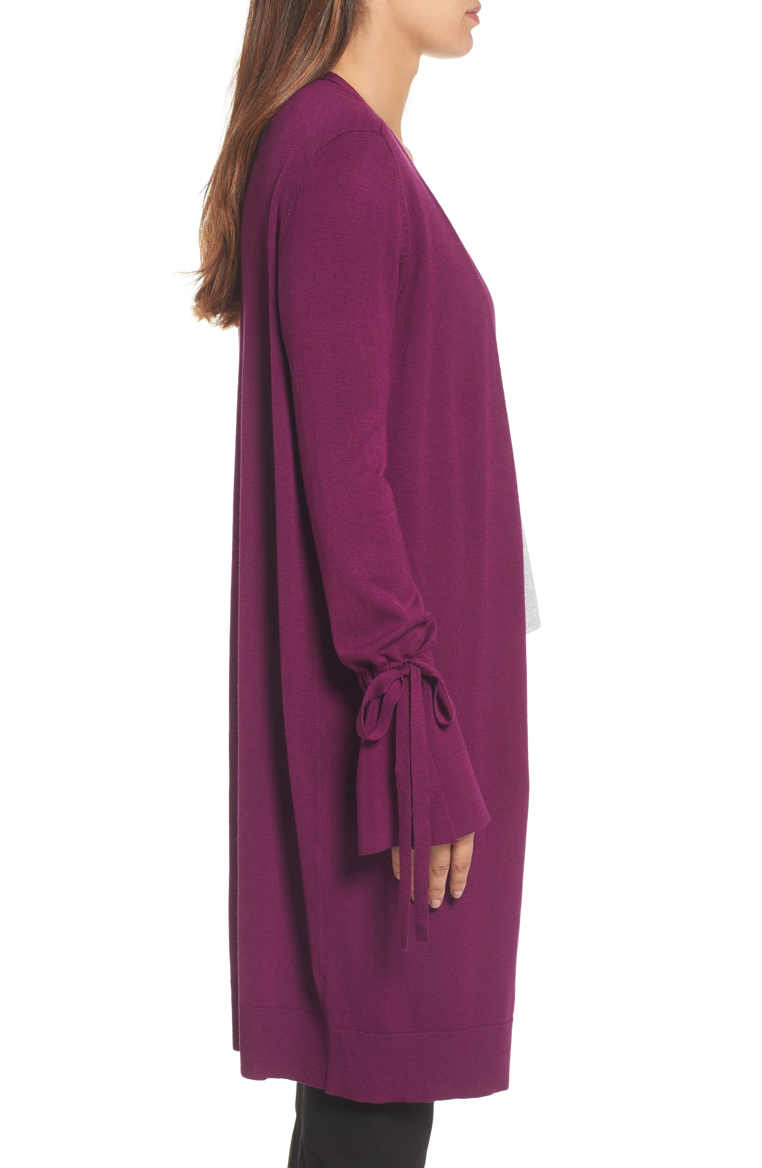 Lightweight Tie Sleeve Cardigan,                             Alternate thumbnail 3, color,                             Purple Dark