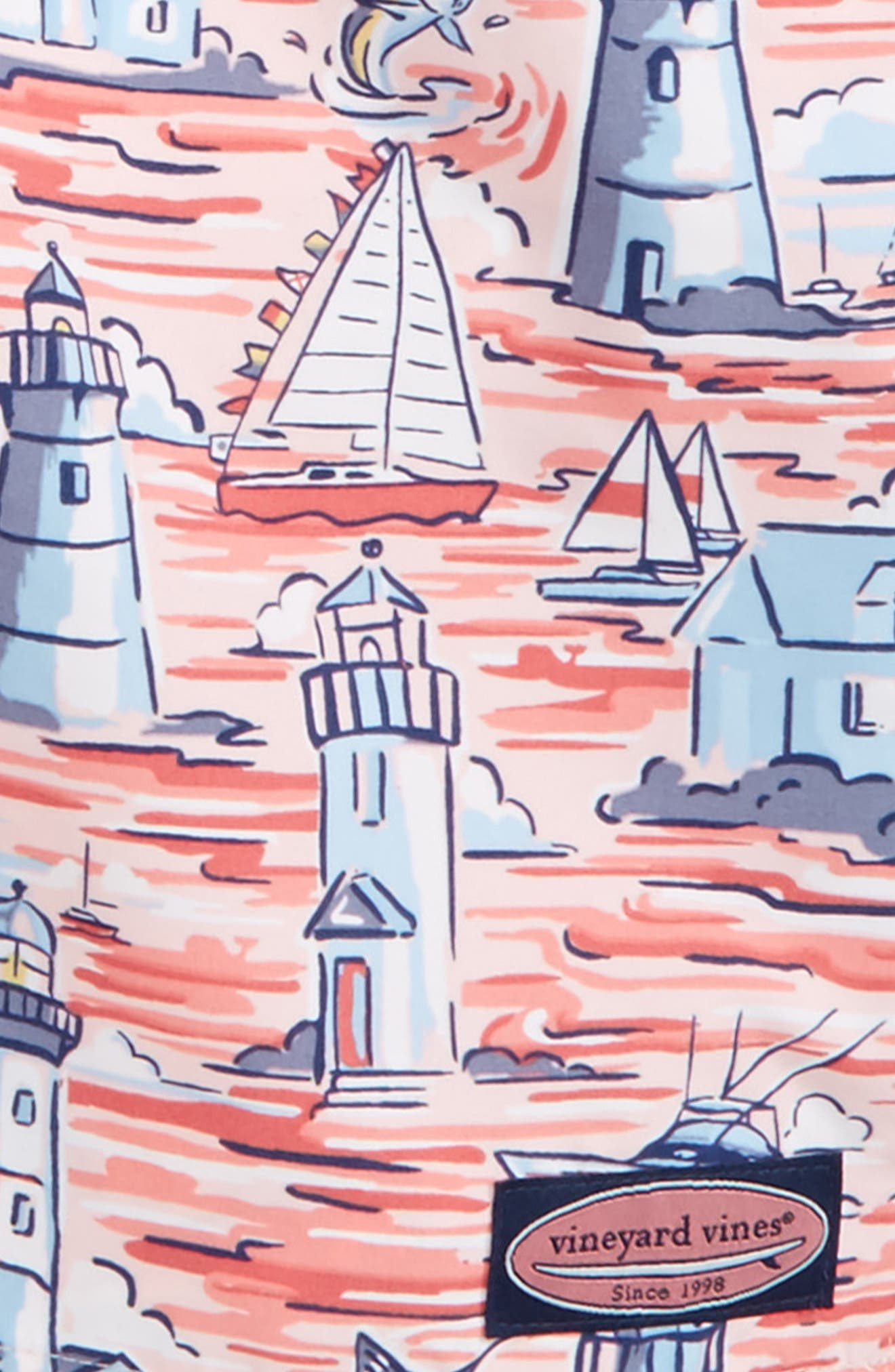 Lighthouse Scenic Chappy Swim Trunks,                             Alternate thumbnail 3, color,                             Flamingo