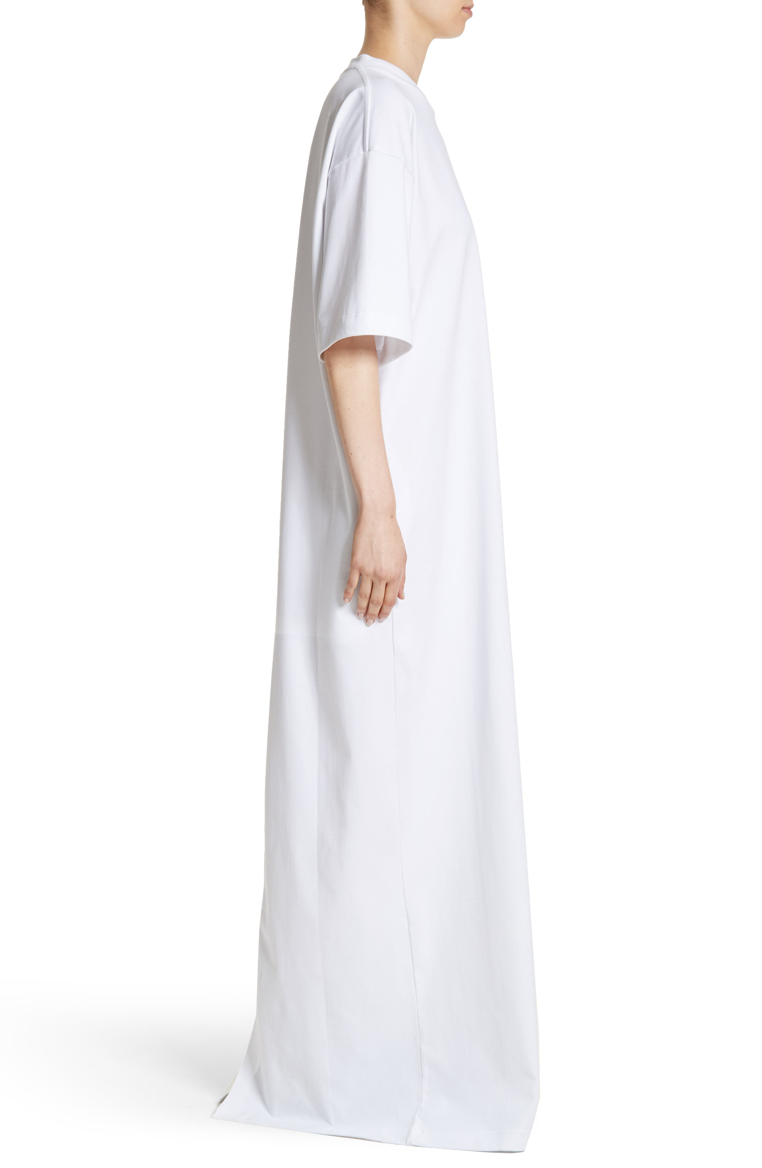 T-Shirt Dress,                             Alternate thumbnail 3, color,                             White
