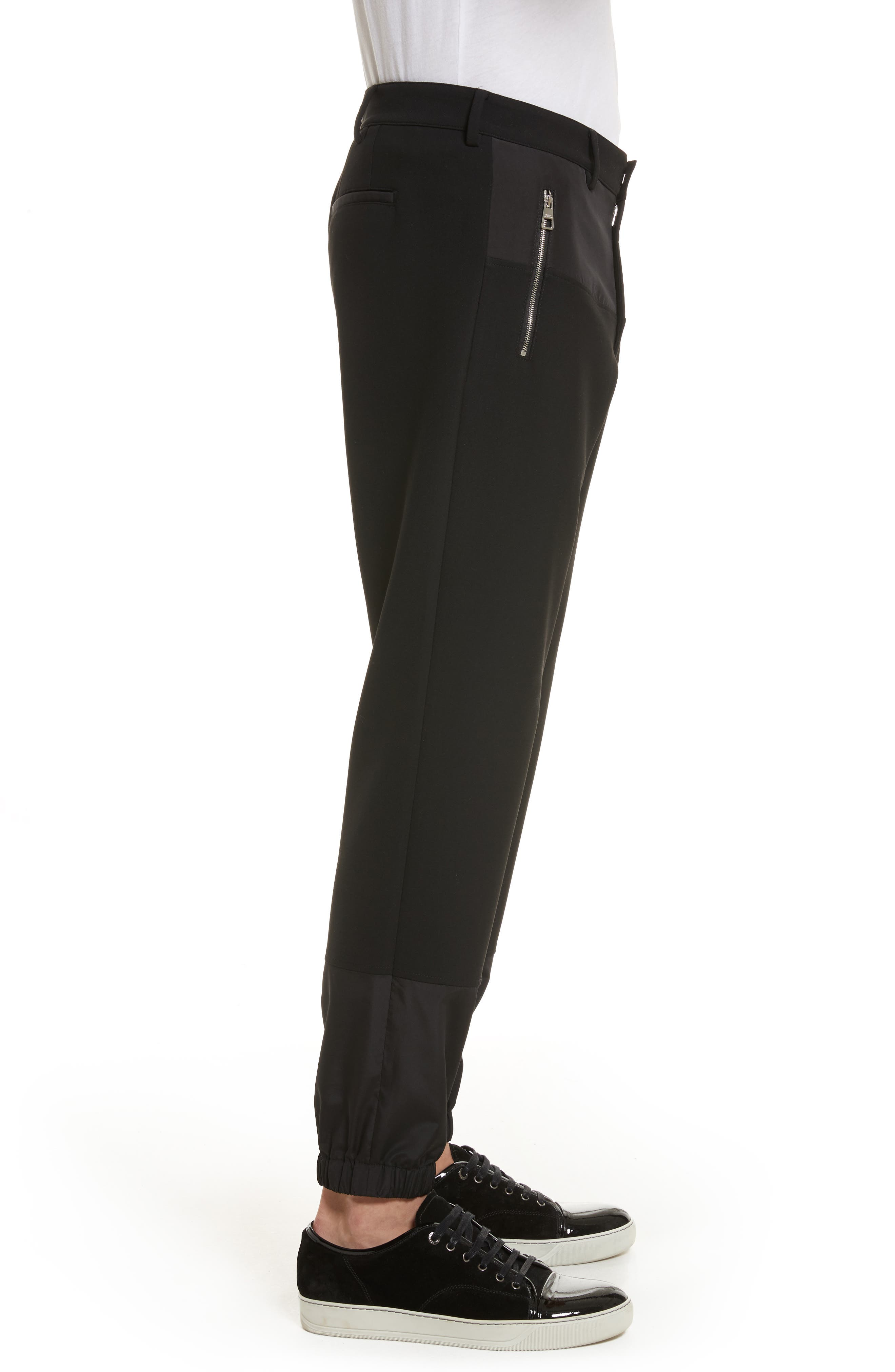 Contrast Panel Jogger Pants,                             Alternate thumbnail 3, color,                             Black