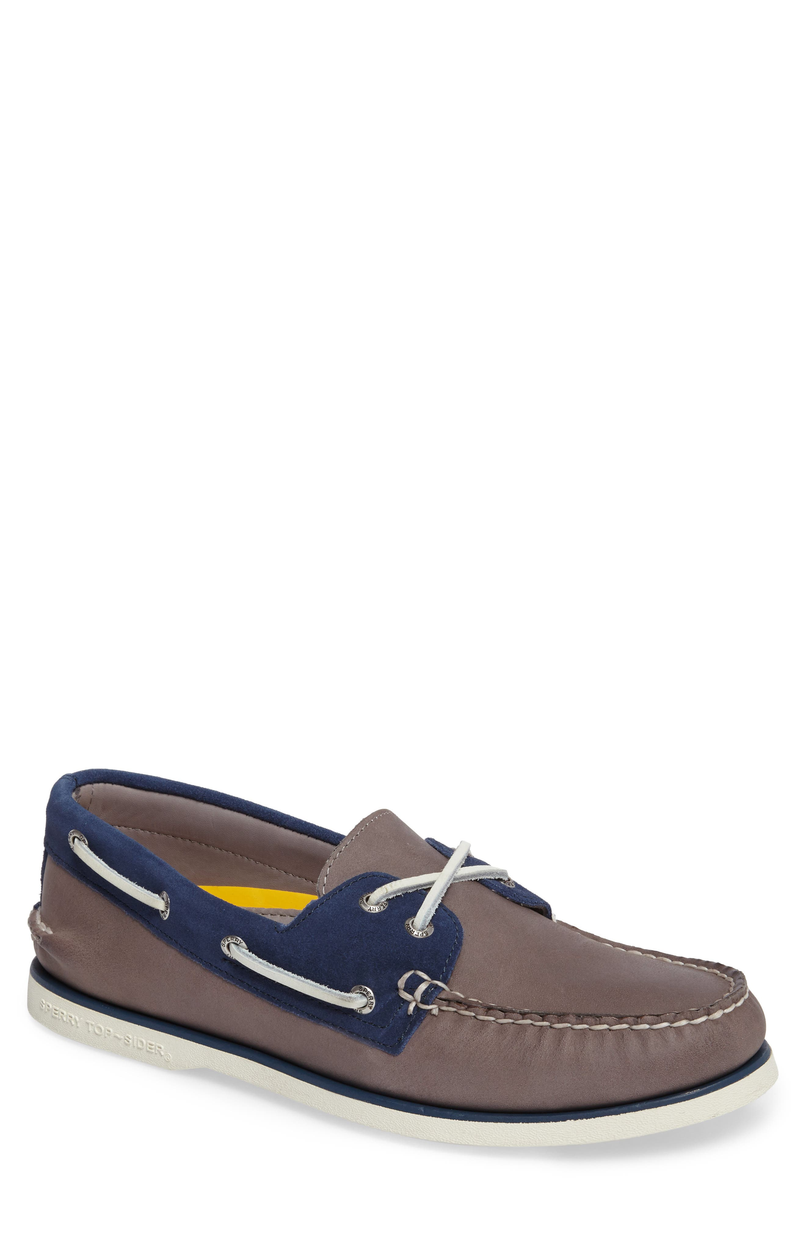 Gold Cup Authentic Original Boat Shoe,                             Main thumbnail 1, color,                             Grey/ Blue Leather