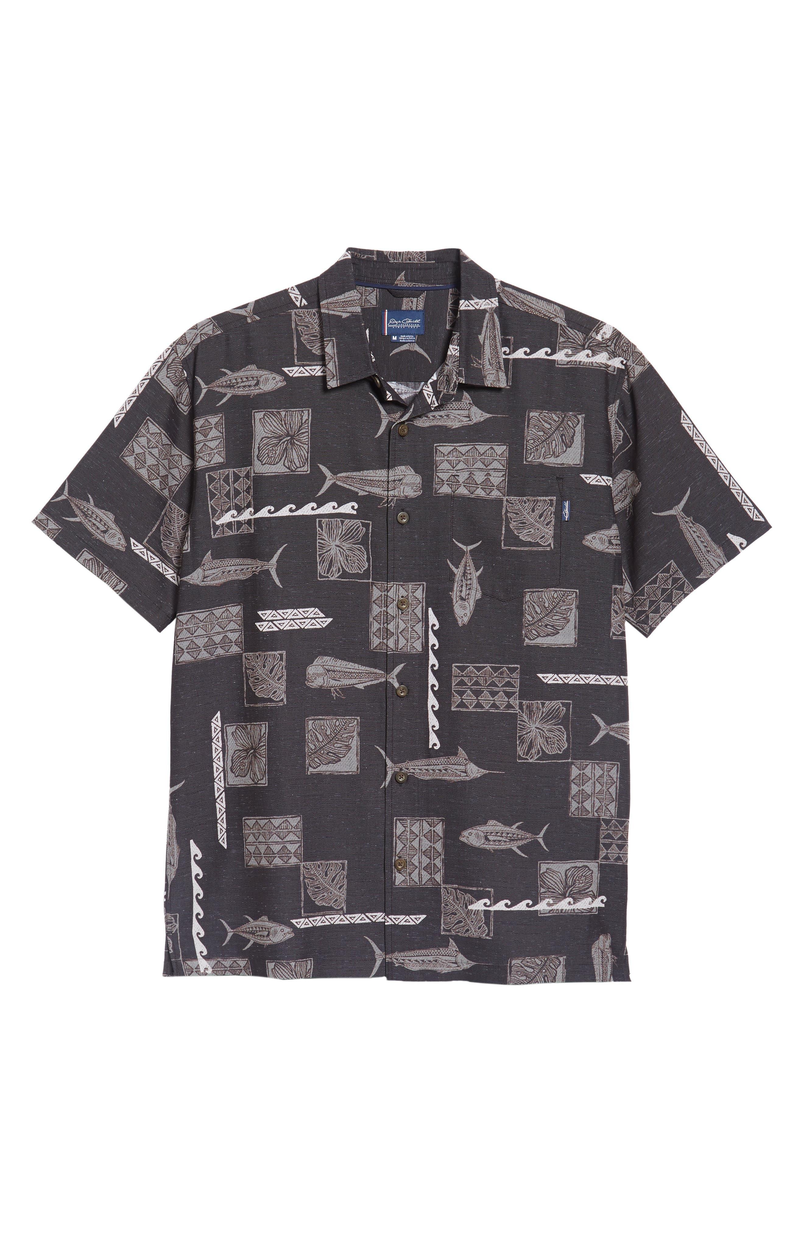 Kua Bay Print Sport Shirt,                             Alternate thumbnail 6, color,                             Black