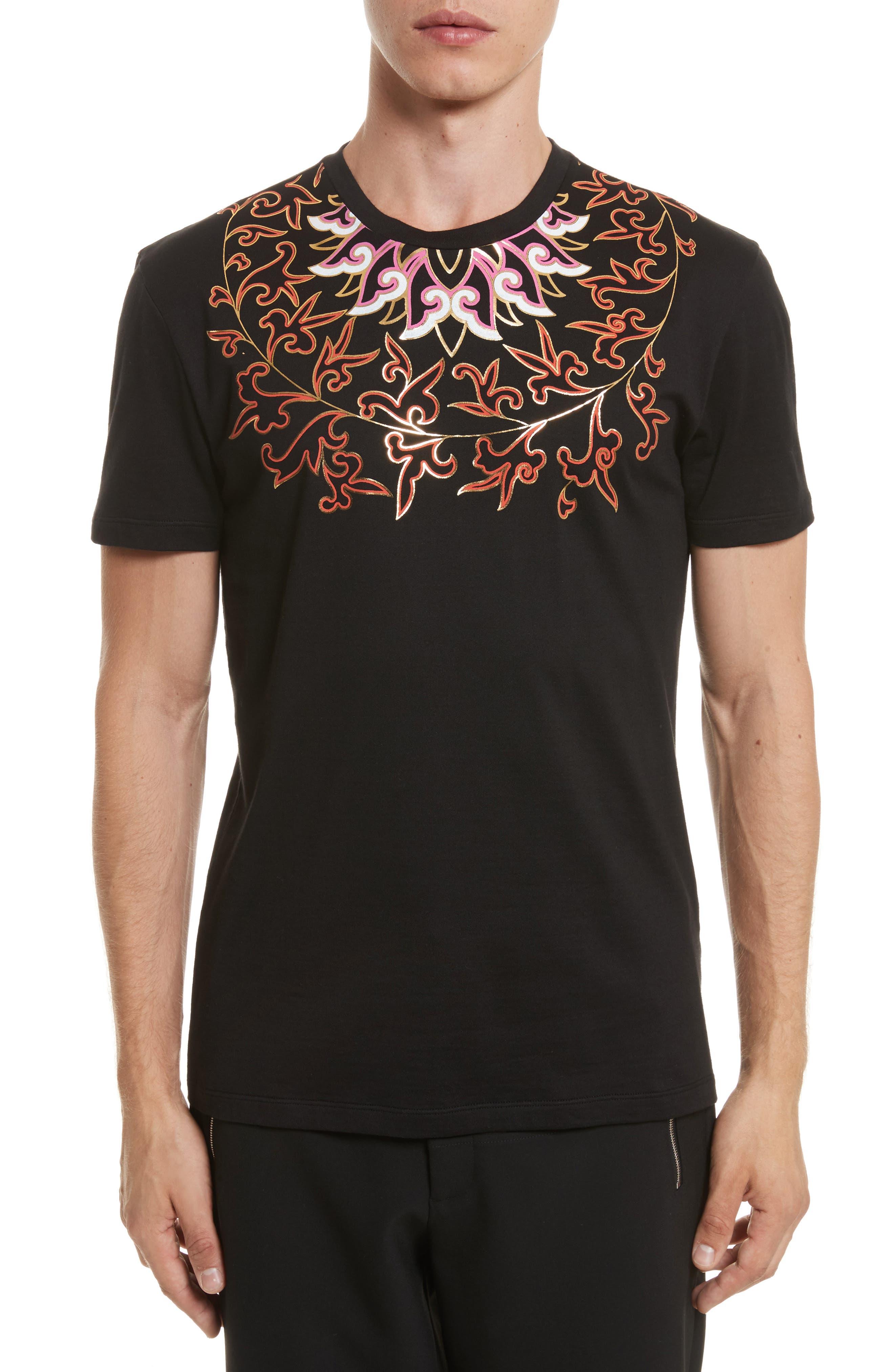 Baroque Foil Print T-Shirt,                         Main,                         color, Black