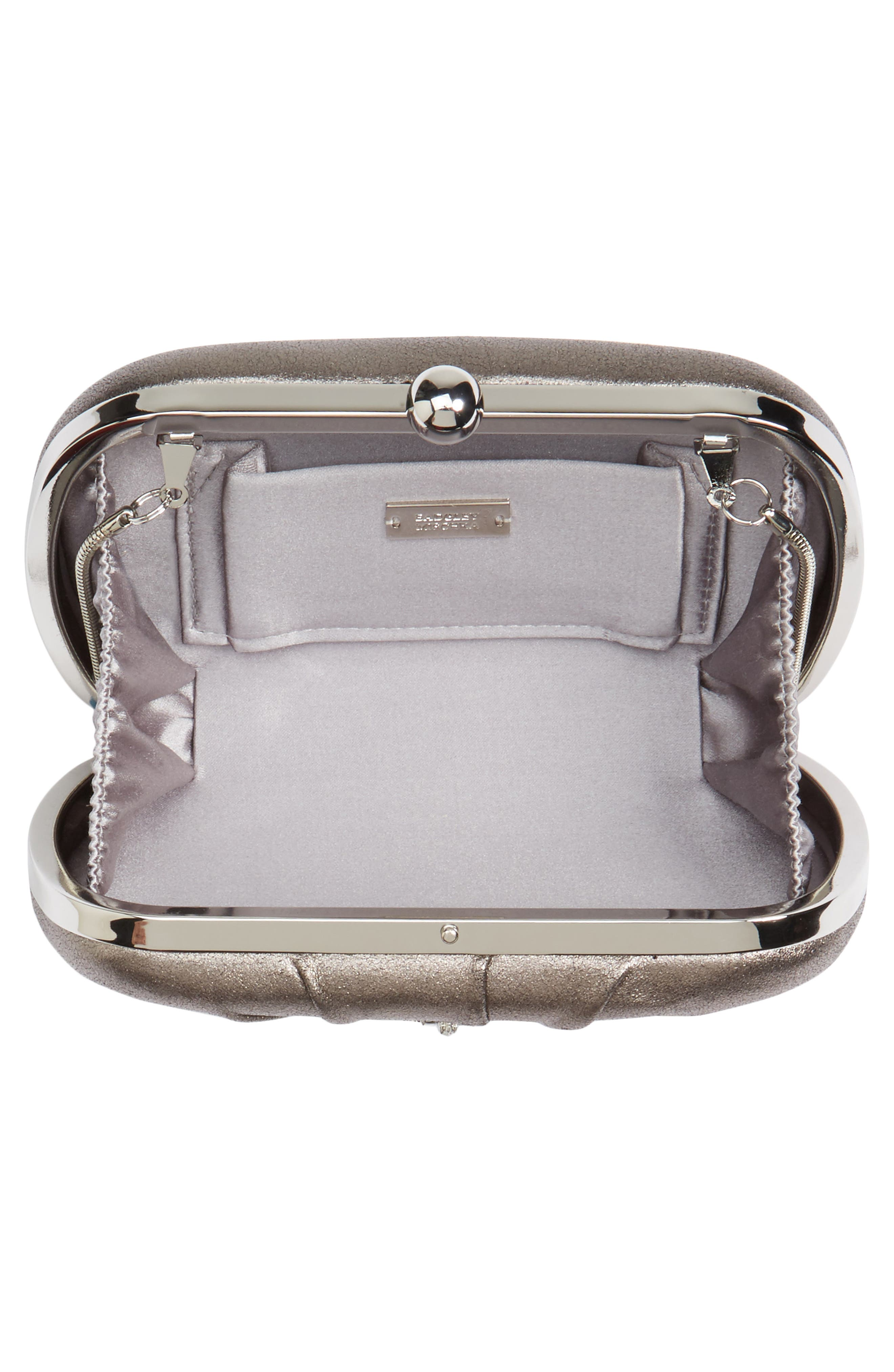 Diva Metallic Leather Clutch,                             Alternate thumbnail 4, color,                             Pewter