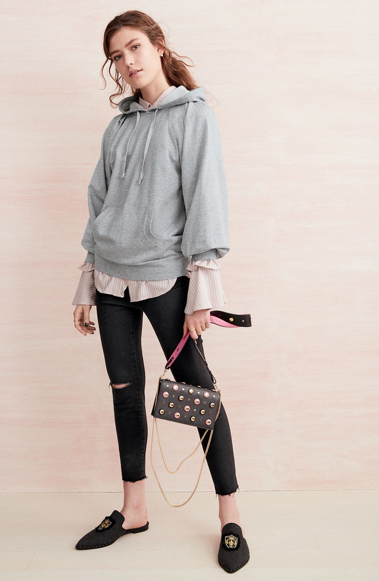 Treasure & Bond Hoodie, Shirt & Jeans Outfit with Accessories