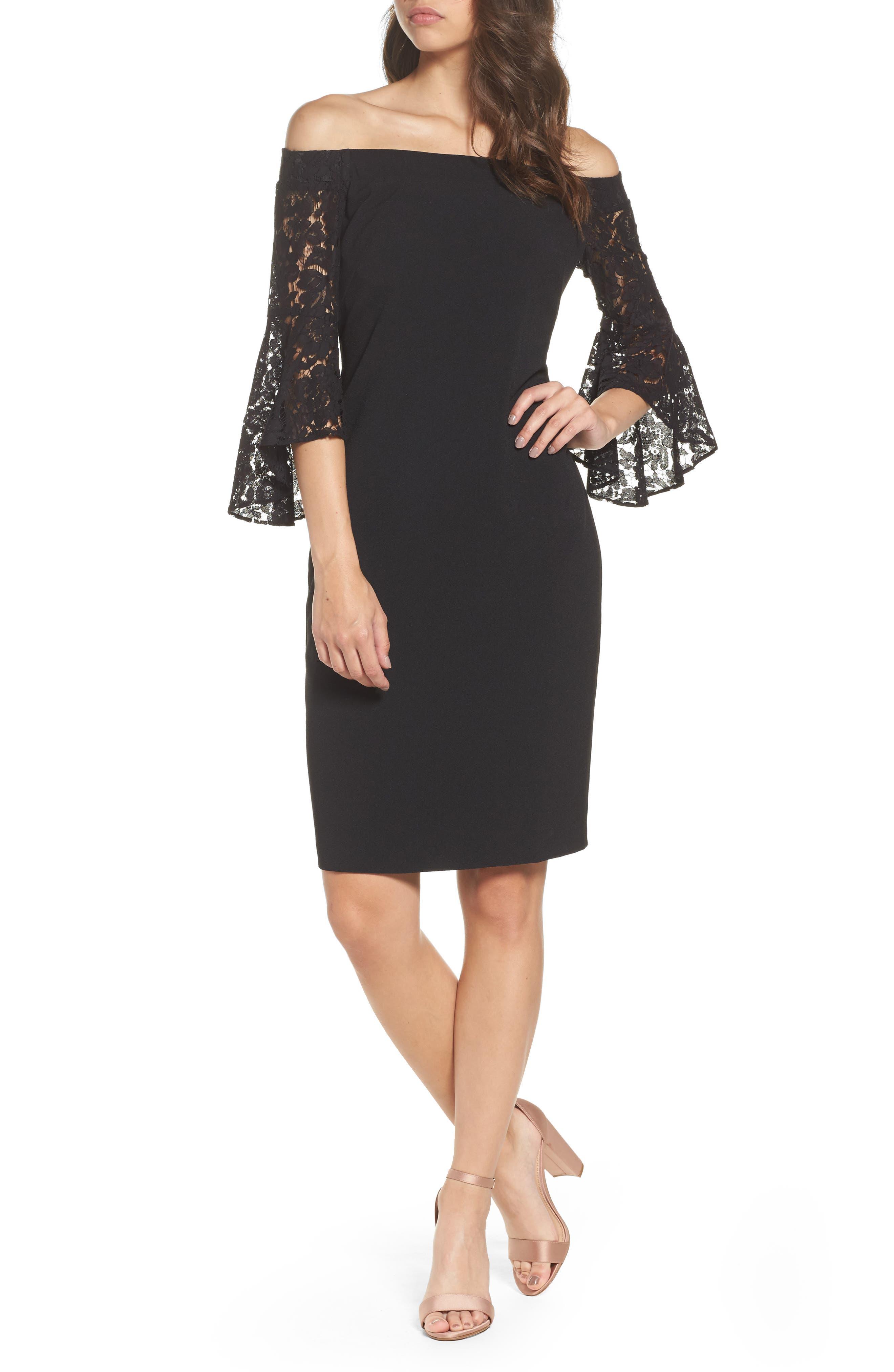 Off the Shoulder Lace Dress,                         Main,                         color, Black