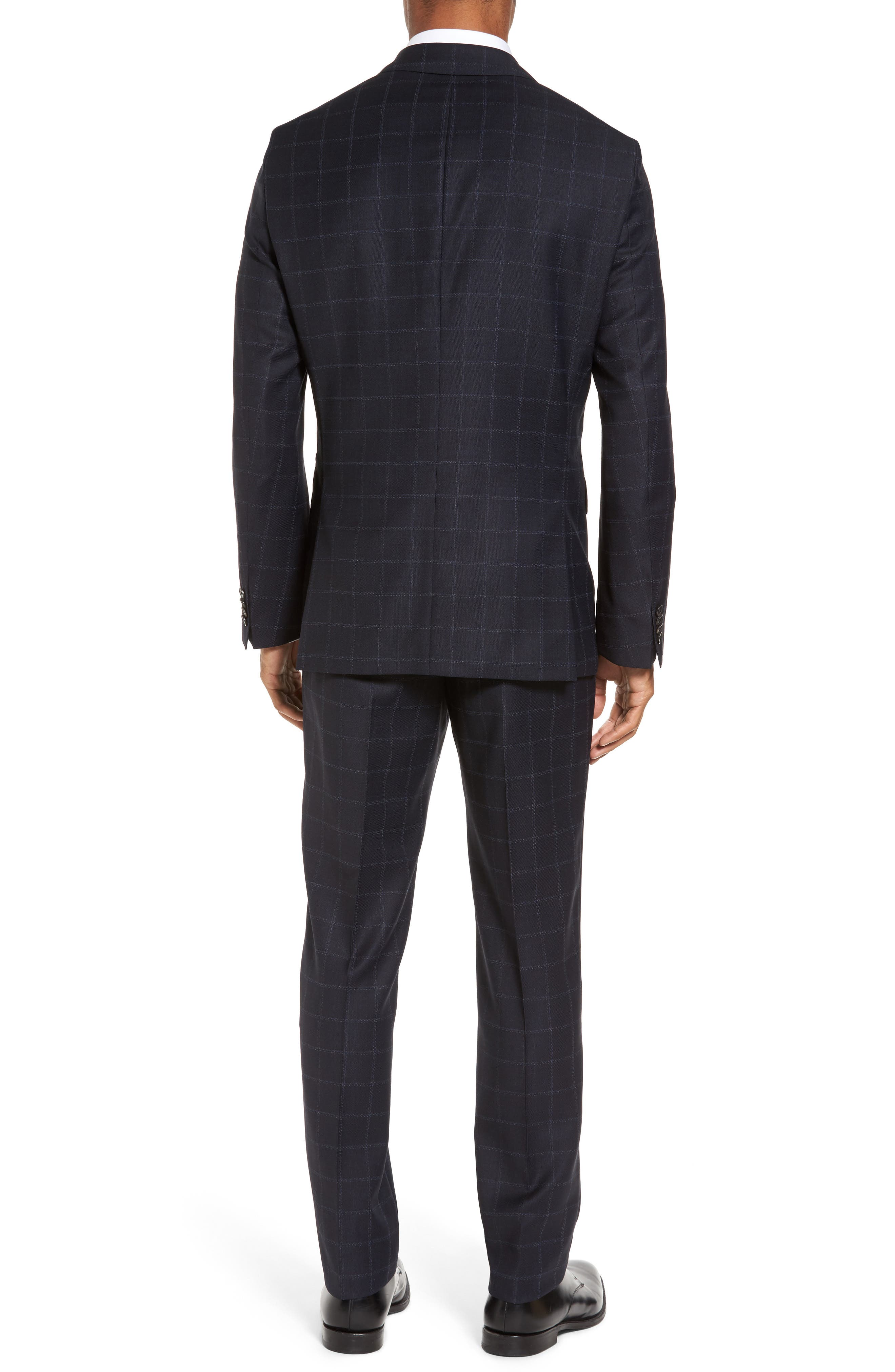 Johnstons/Lenon Classic Fit Windowpane Wool Suit,                             Alternate thumbnail 2, color,                             Navy