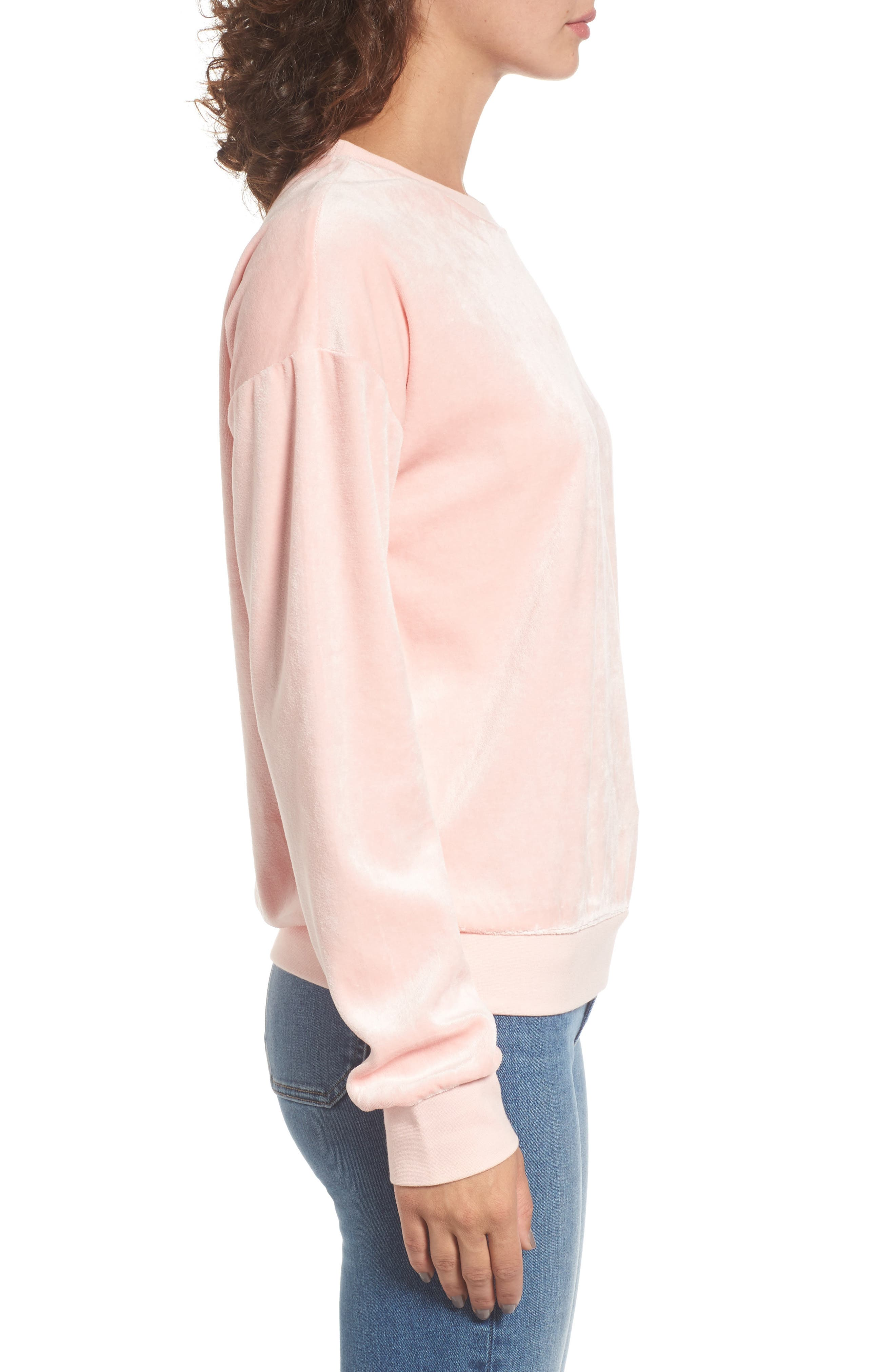Velour Pullover,                             Alternate thumbnail 3, color,                             Sugared Icing