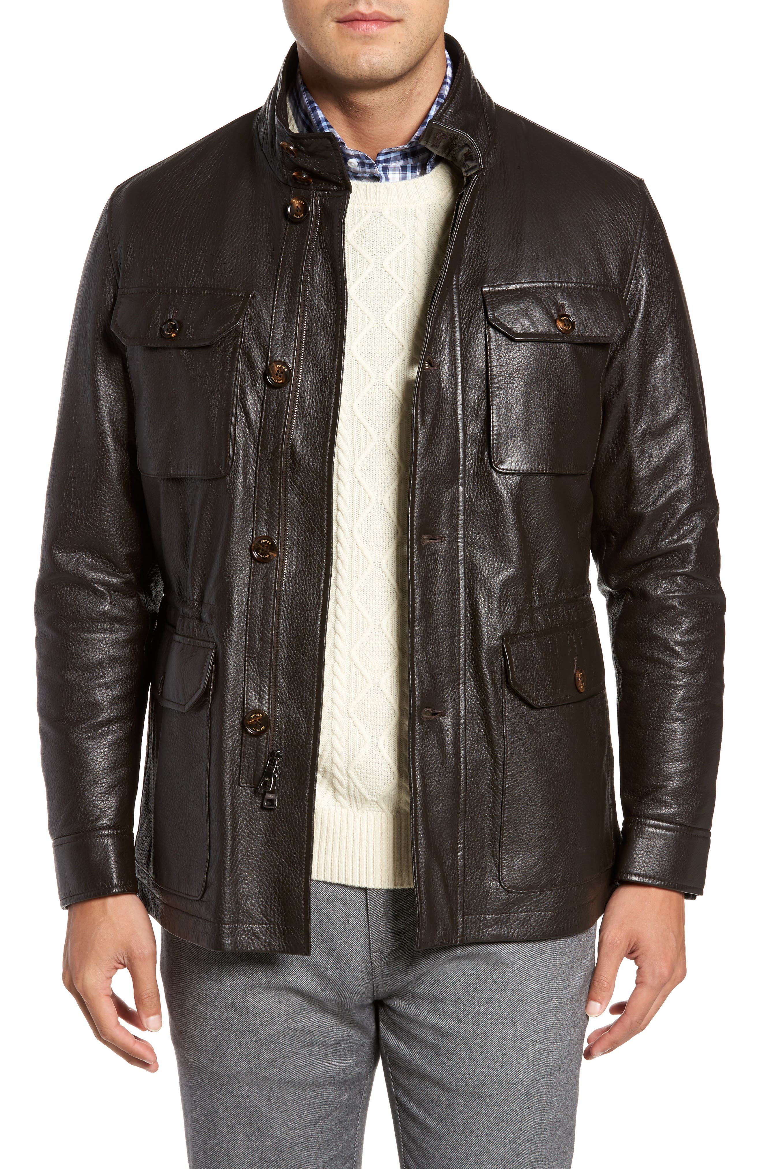 Woodland Discovery Deerskin Leather Jacket,                         Main,                         color, Espresso