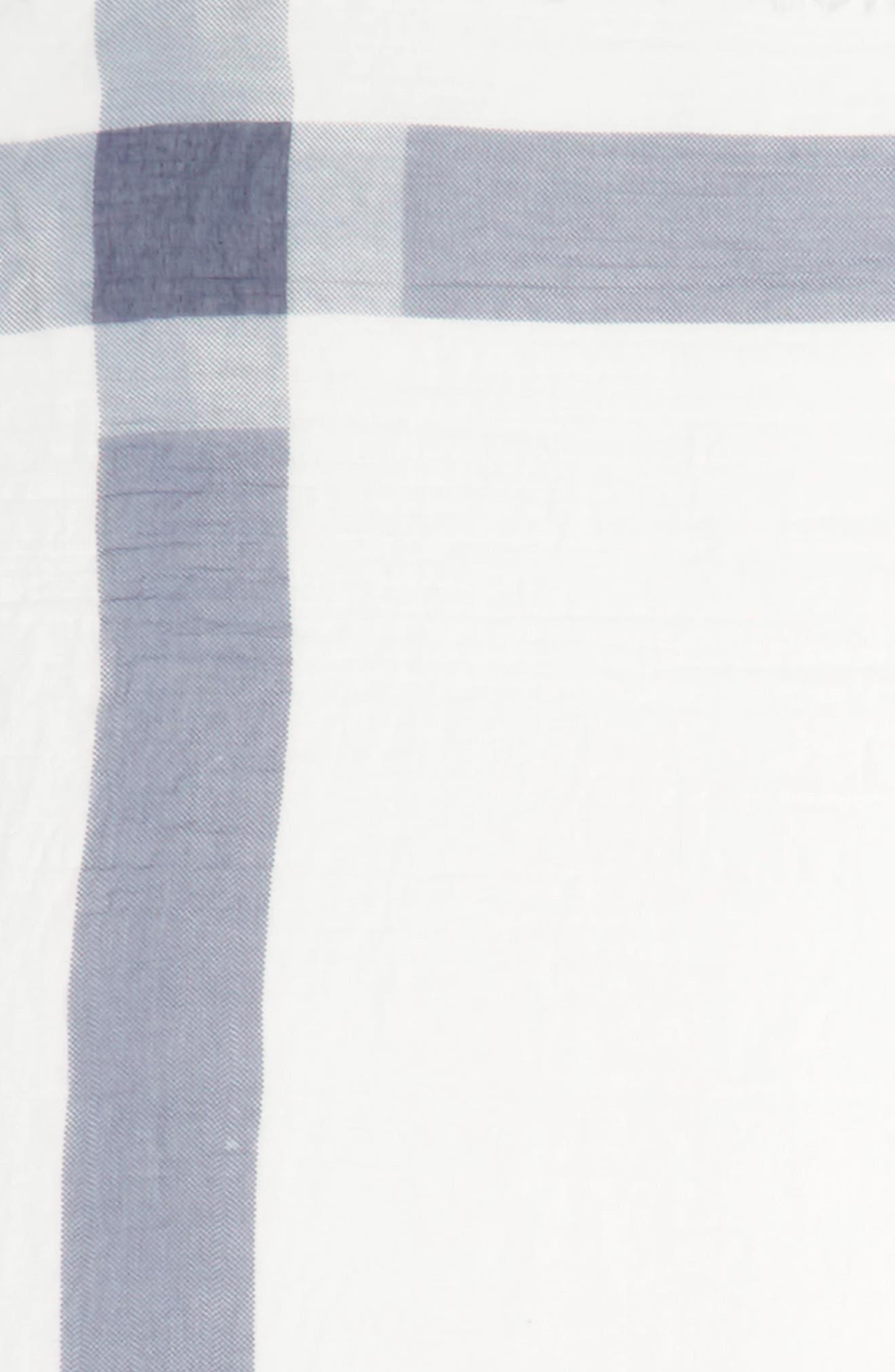 Plaid Square Scarf,                             Alternate thumbnail 3, color,                             Ivory/ Blue