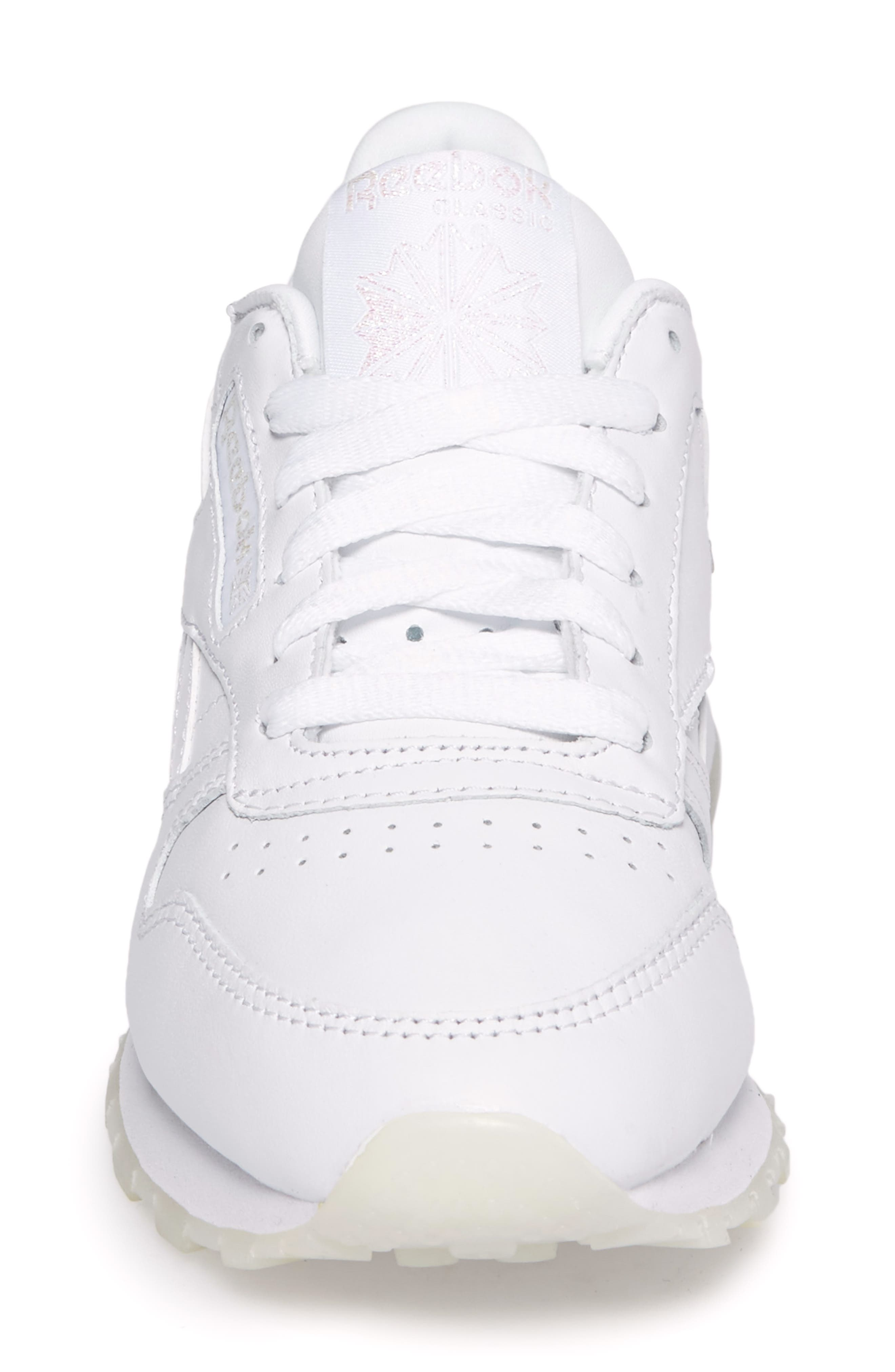 Classic Leather Sneaker,                             Alternate thumbnail 5, color,                             White/ White/ Ice Pearl