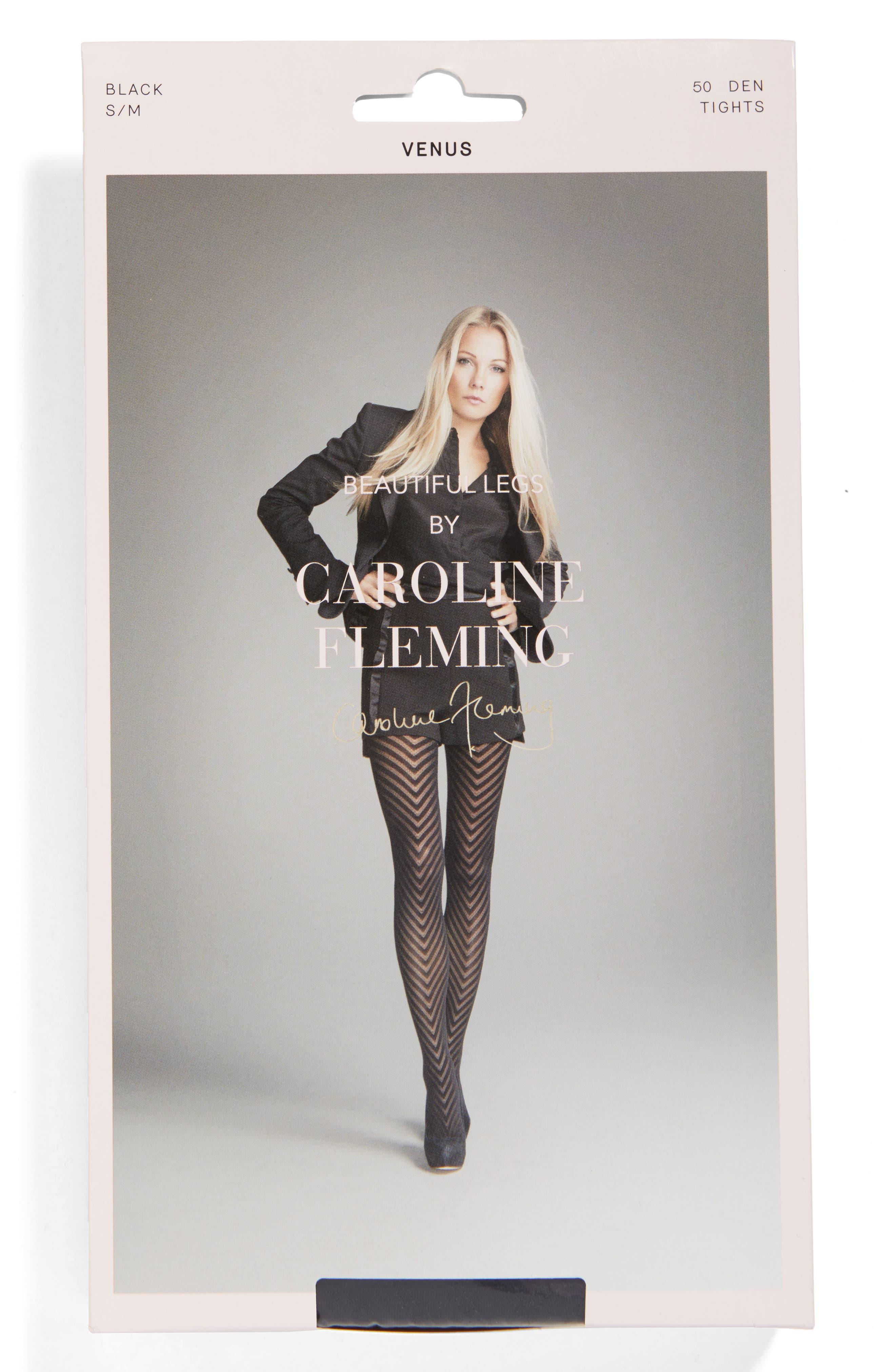 Alternate Image 2  - Beautiful Legs by Caroline Fleming Chevron Pantyhose