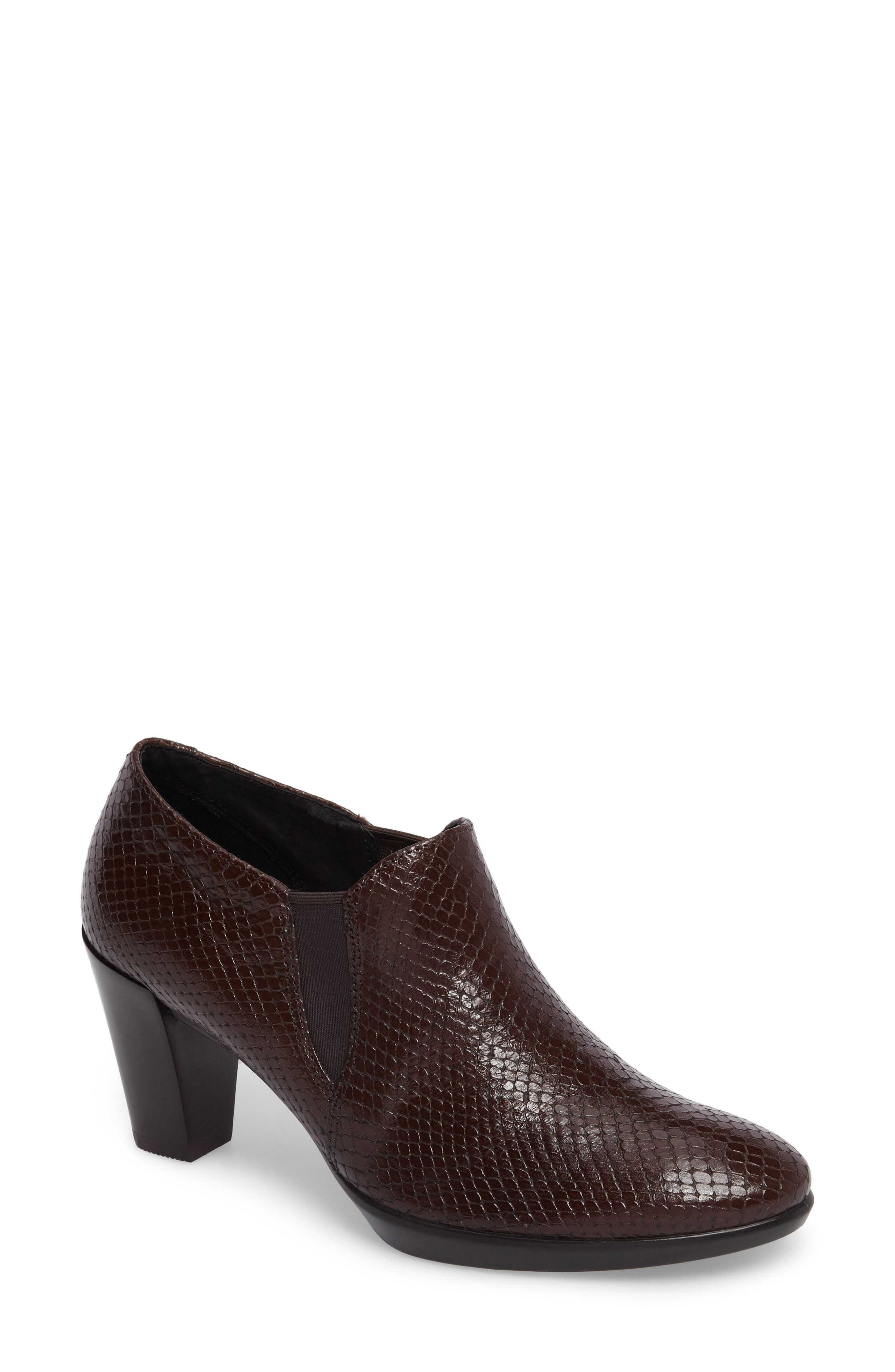 Shape 55 Plateau Stack Bootie,                             Main thumbnail 1, color,                             Coffee Leather