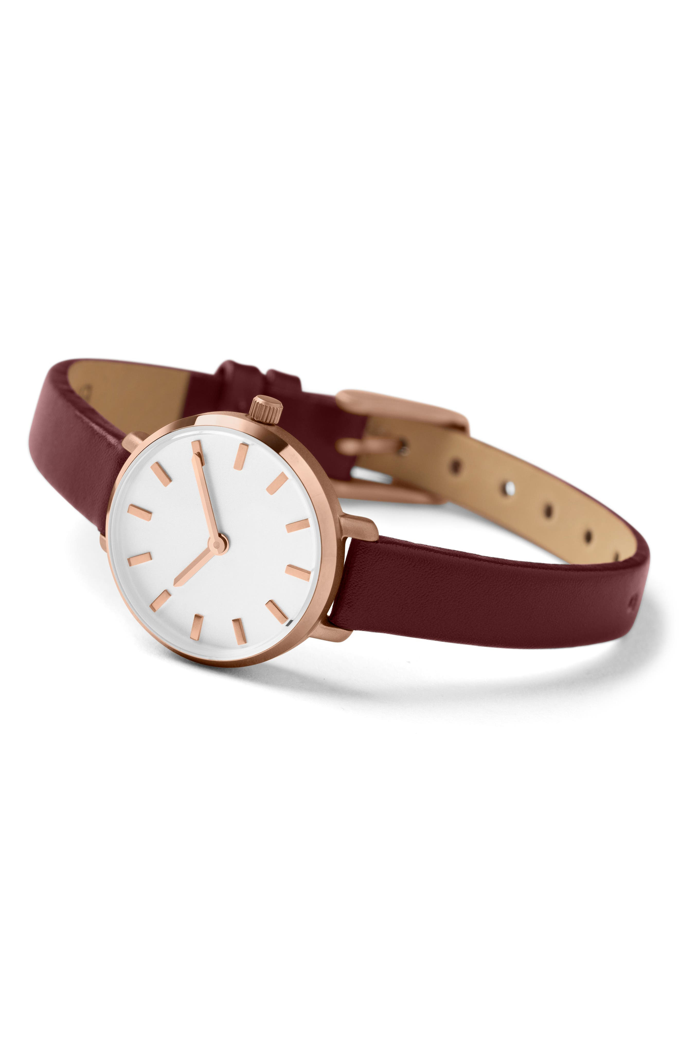 Beverly Round Leather Strap Watch, 26mm,                             Alternate thumbnail 2, color,                             Maroon/ Rose Gold