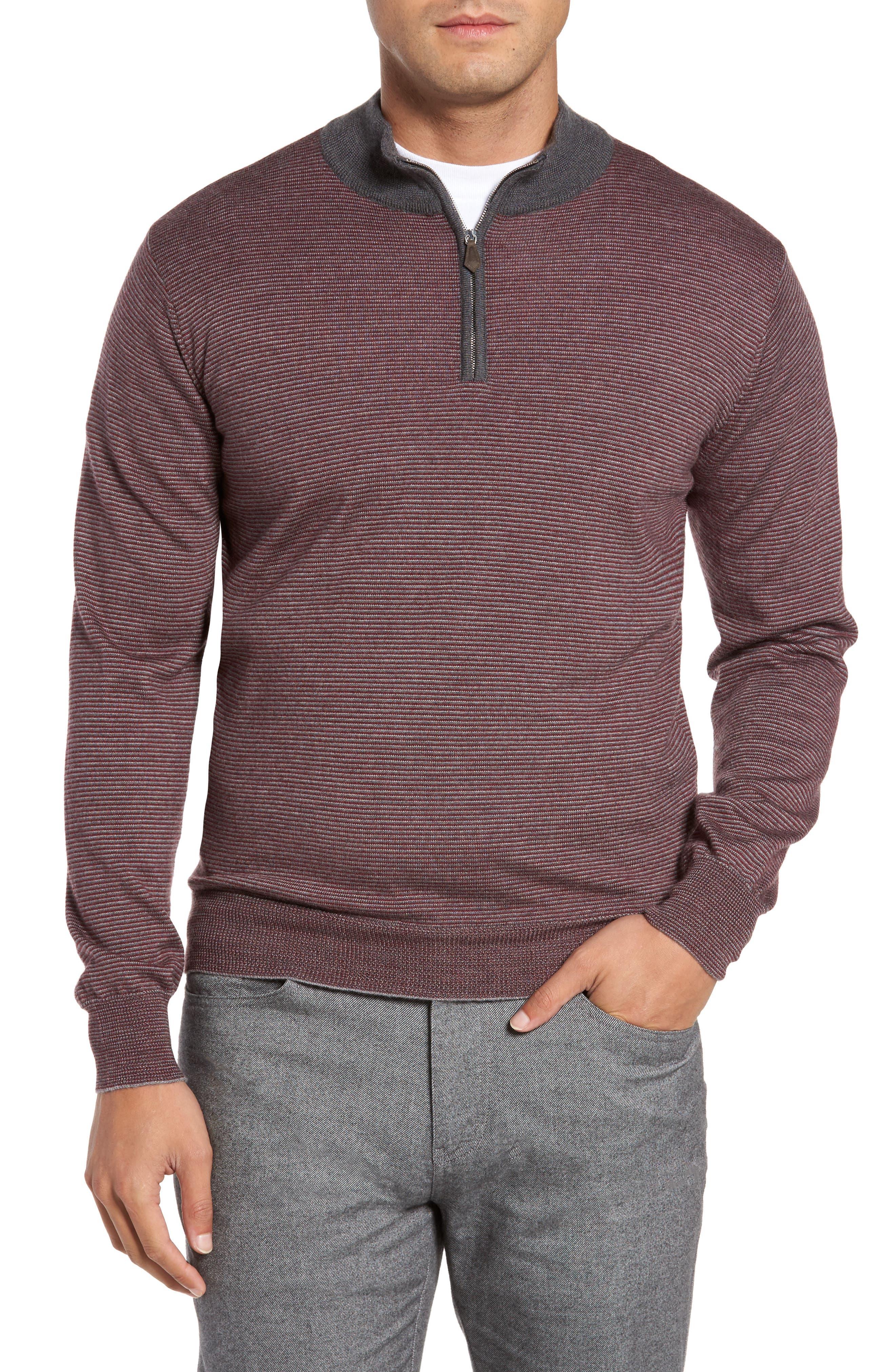 Trichrome Stripe Merino Wool Blend Sweater,                             Main thumbnail 1, color,                             Chianti