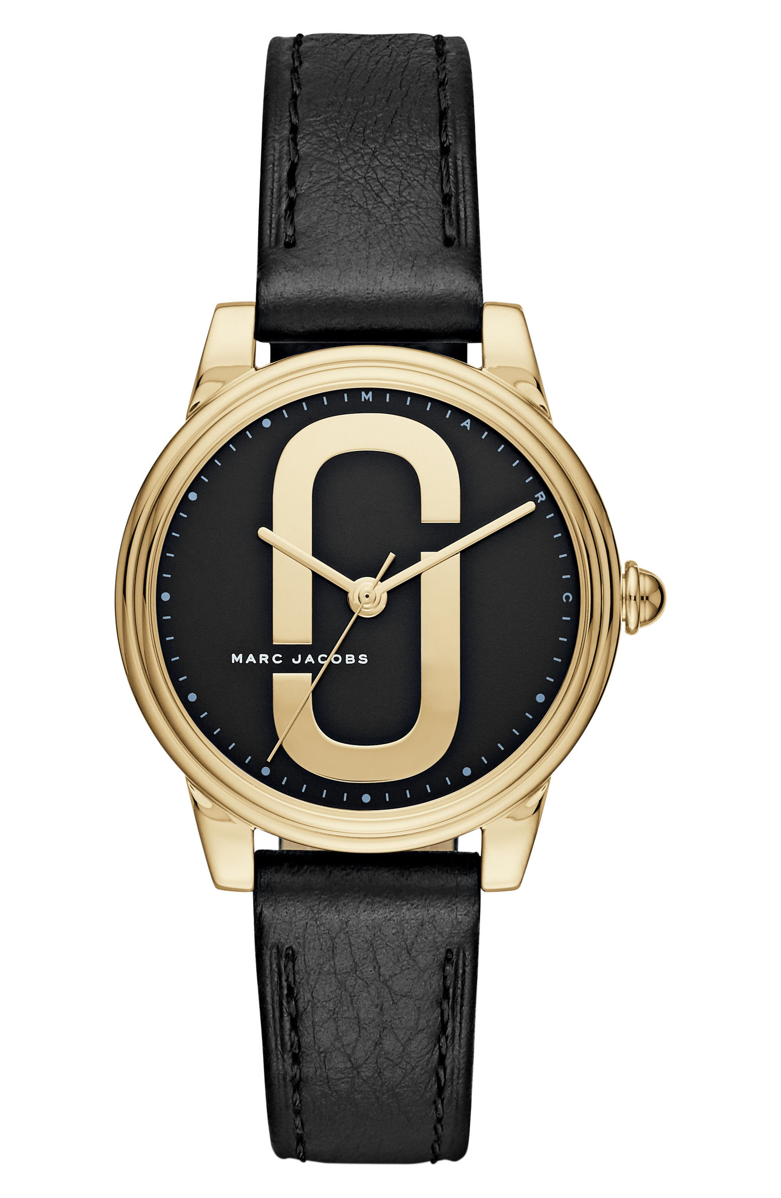 Corie Leather Strap Watch, 36mm,                             Main thumbnail 1, color,                             Black/ Gold
