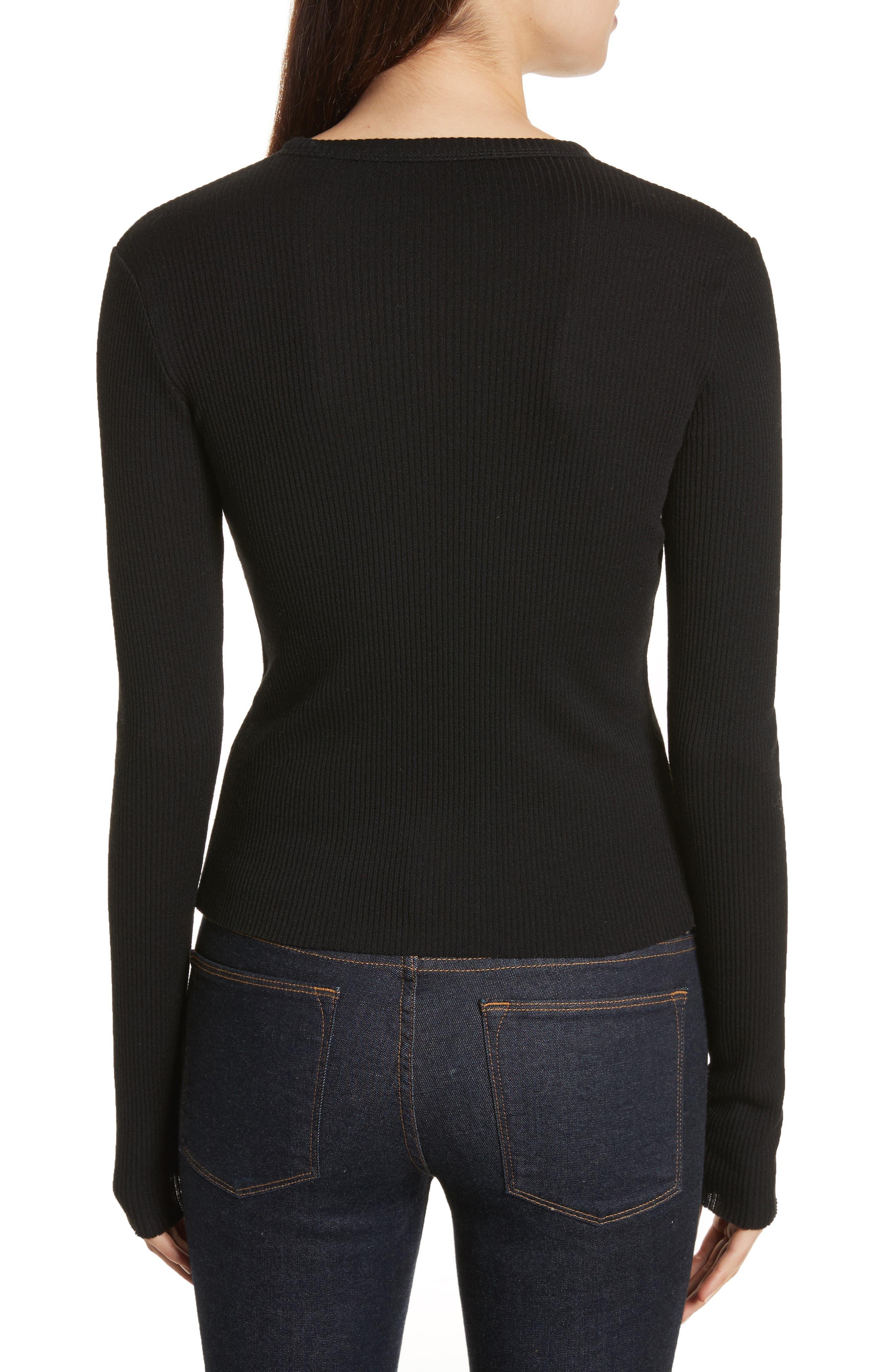 Ribbed Wool Blend Cardigan,                             Alternate thumbnail 2, color,                             Black
